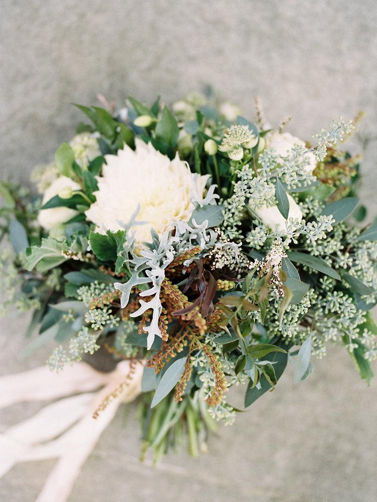 Lush bridal bouquet with cafe au lait dahlias // Nashville Destination Wedding Florist