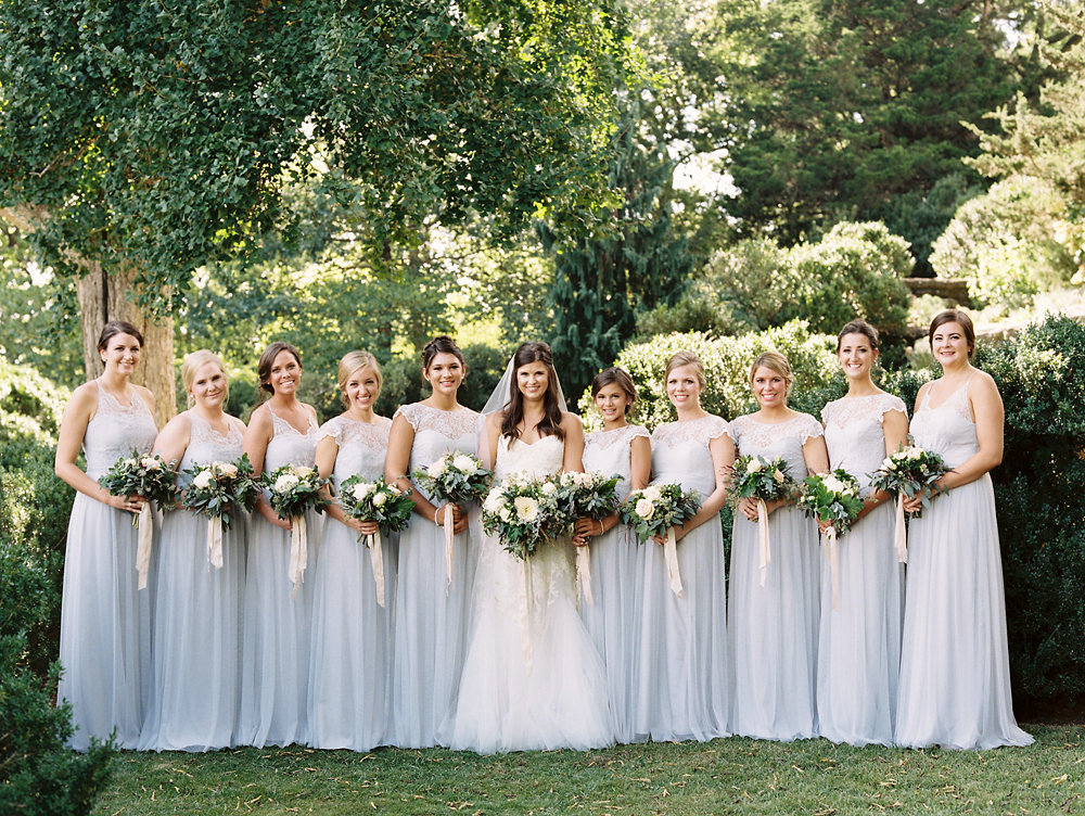 Pale blue bridesmaid dresses with lush, greenery heavy bouquet // Nashville Wedding Inspiration
