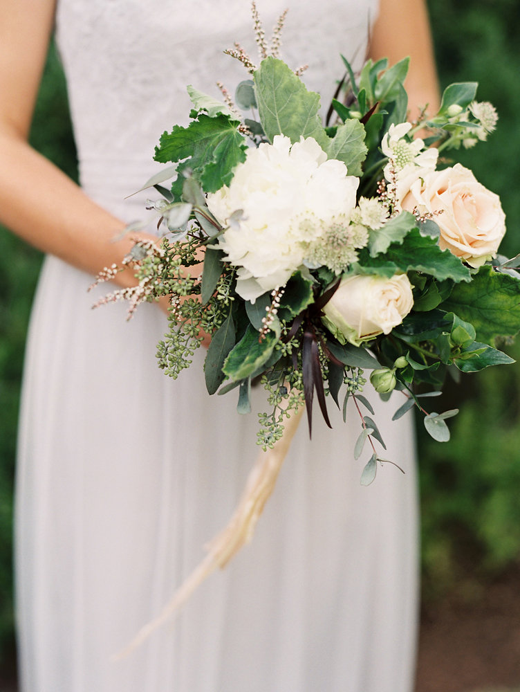 White peonies, blush garden roses, geranium leaves // Upscale Nashville Wedding Florist
