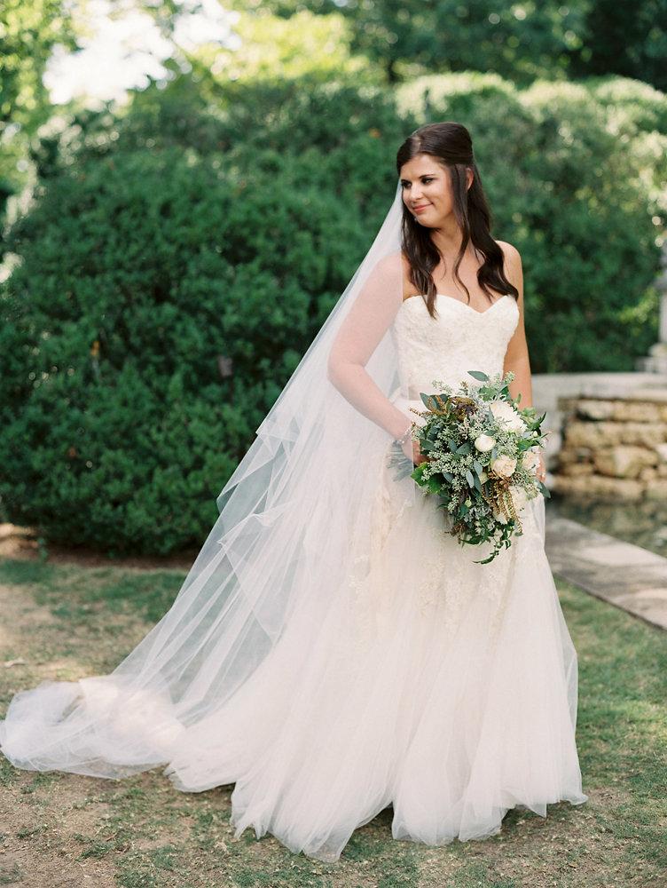 White peonies, lush greenery, blush garden rose bridal bouquet // Southeastern US Destination Floral Design