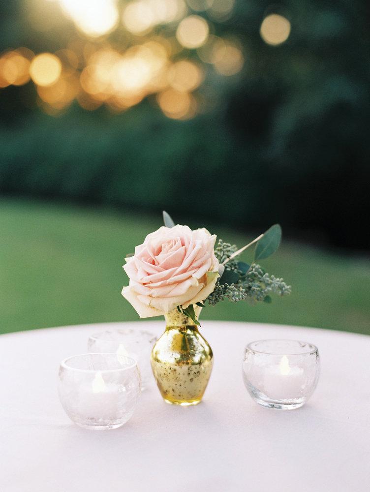Sweet blush rose in gold mercury glass bud vase // Nashville Wedding Floral Design
