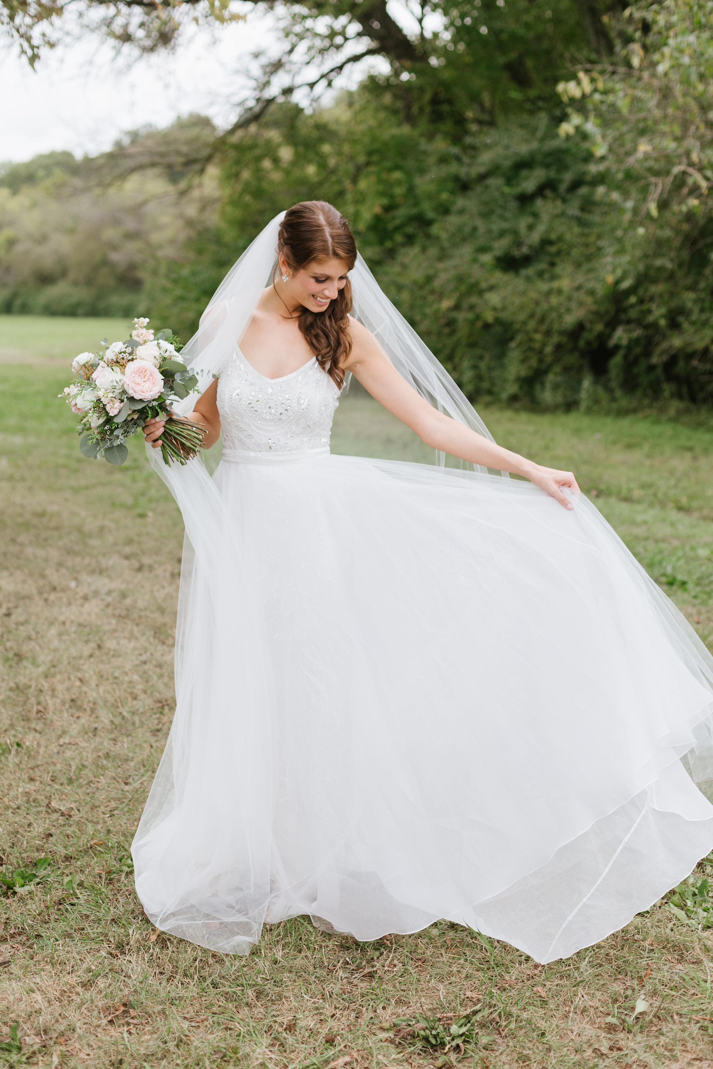 Romantic Bridal Portrait with blush and cream florals // Nashville Florist