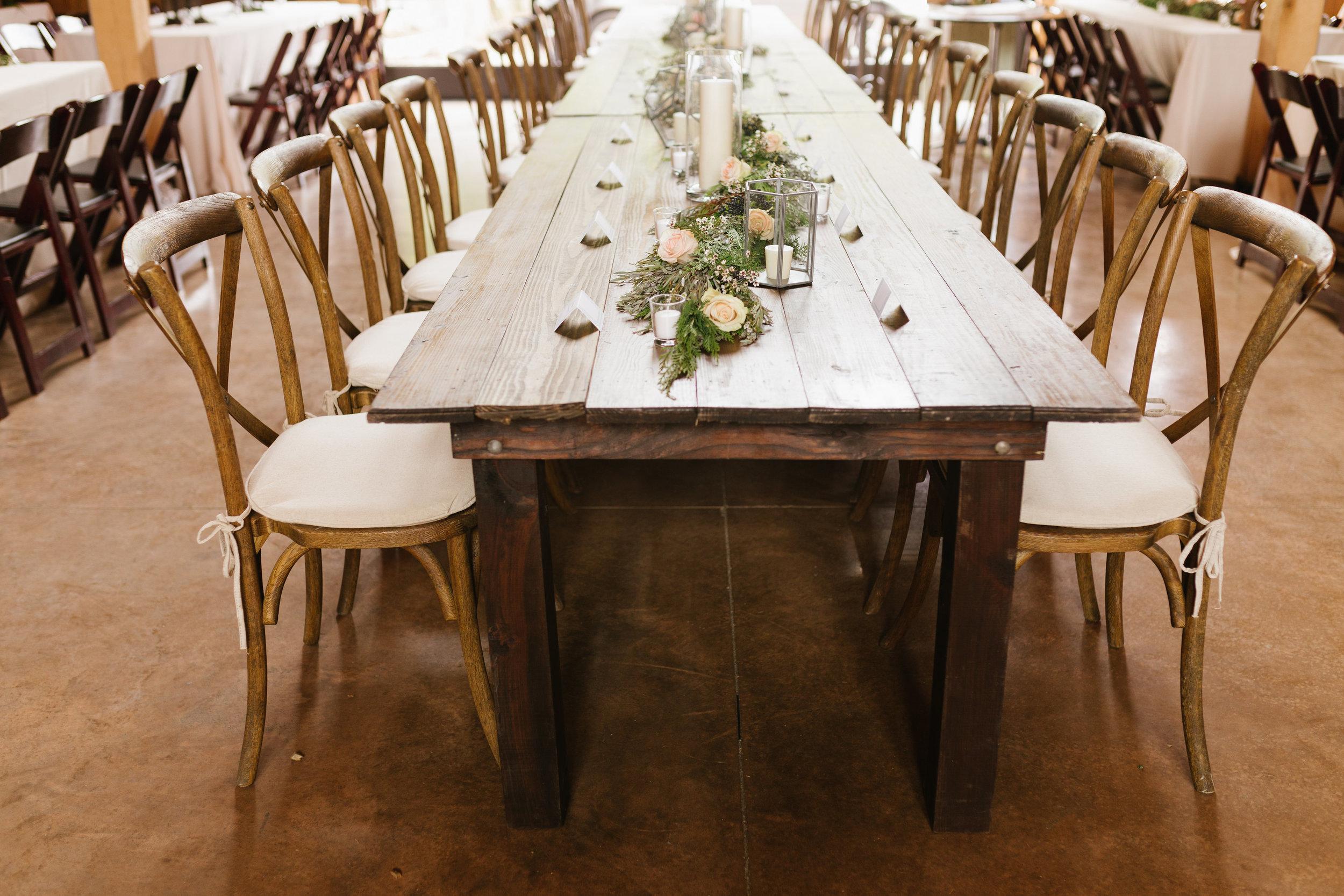 Lush garland runner with floral accents // Green Door Gourmet Wedding