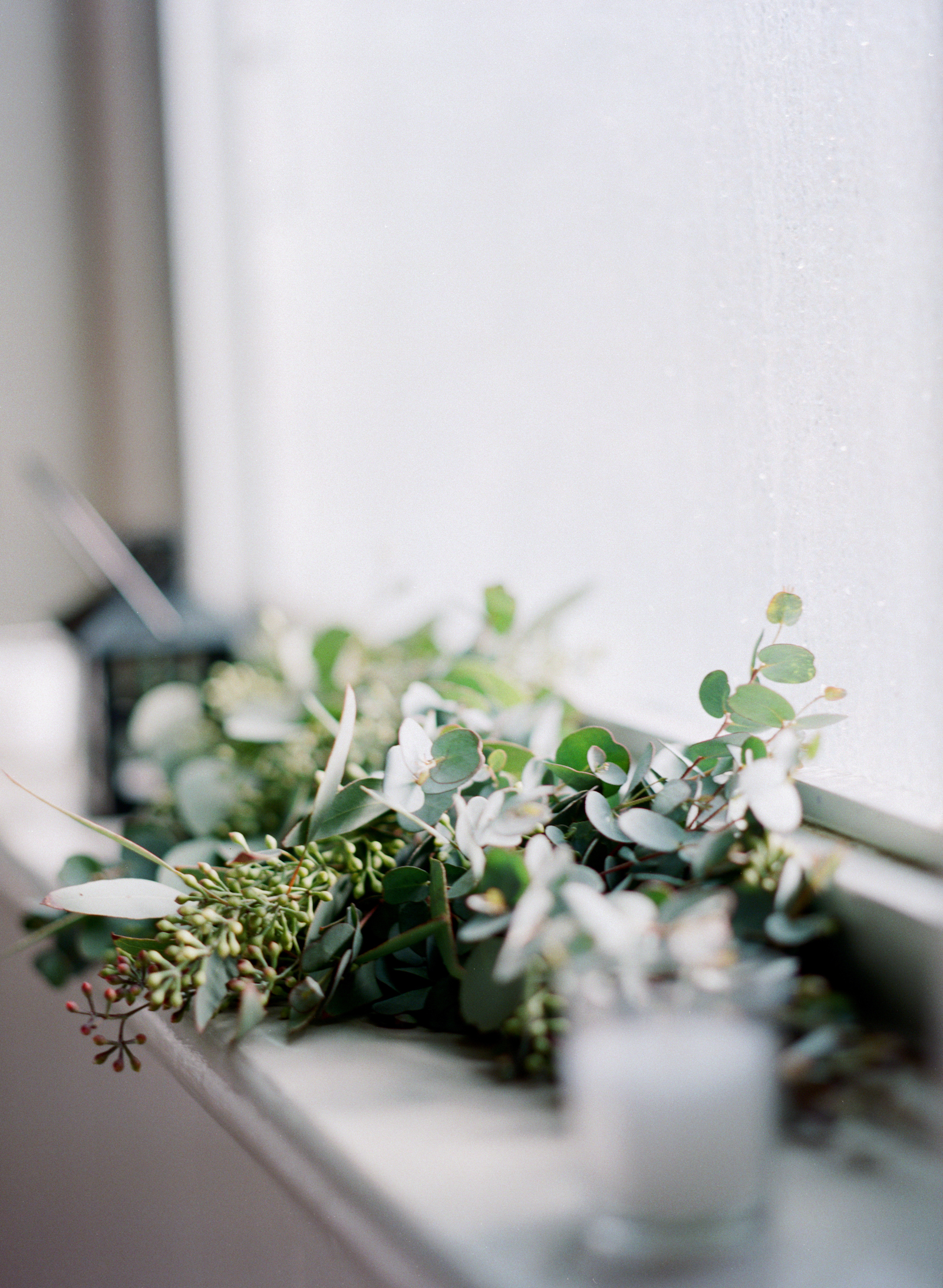Greenery garland window accent // Nashville Floral Design