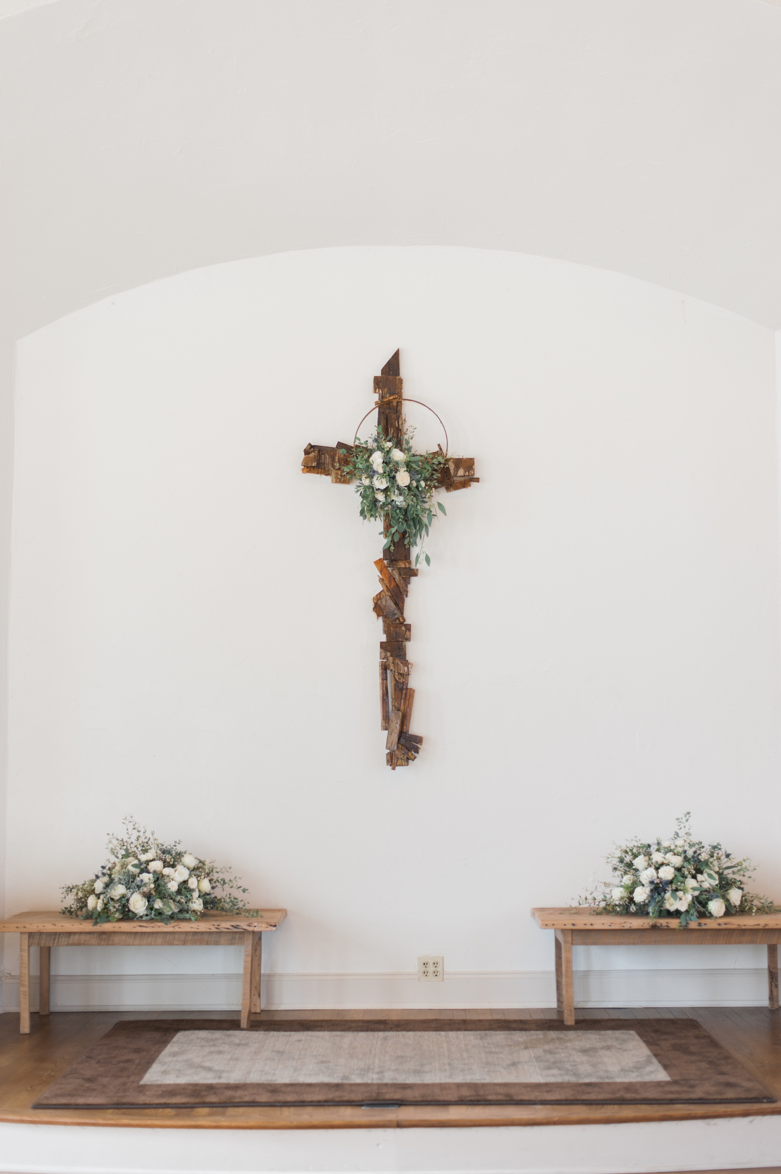 Wedding Ceremony Backdrop Cross with organic greenery and flowers // Southern Wedding Floral Design