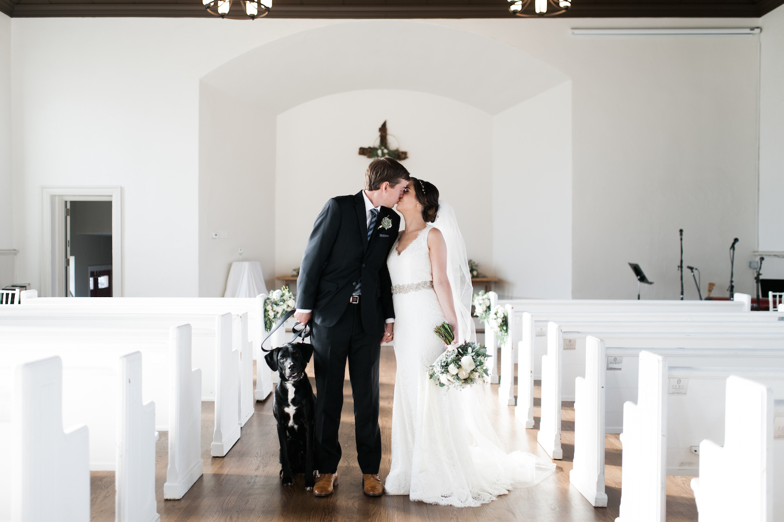 Bride and groom with dog // Nashville Floral Design