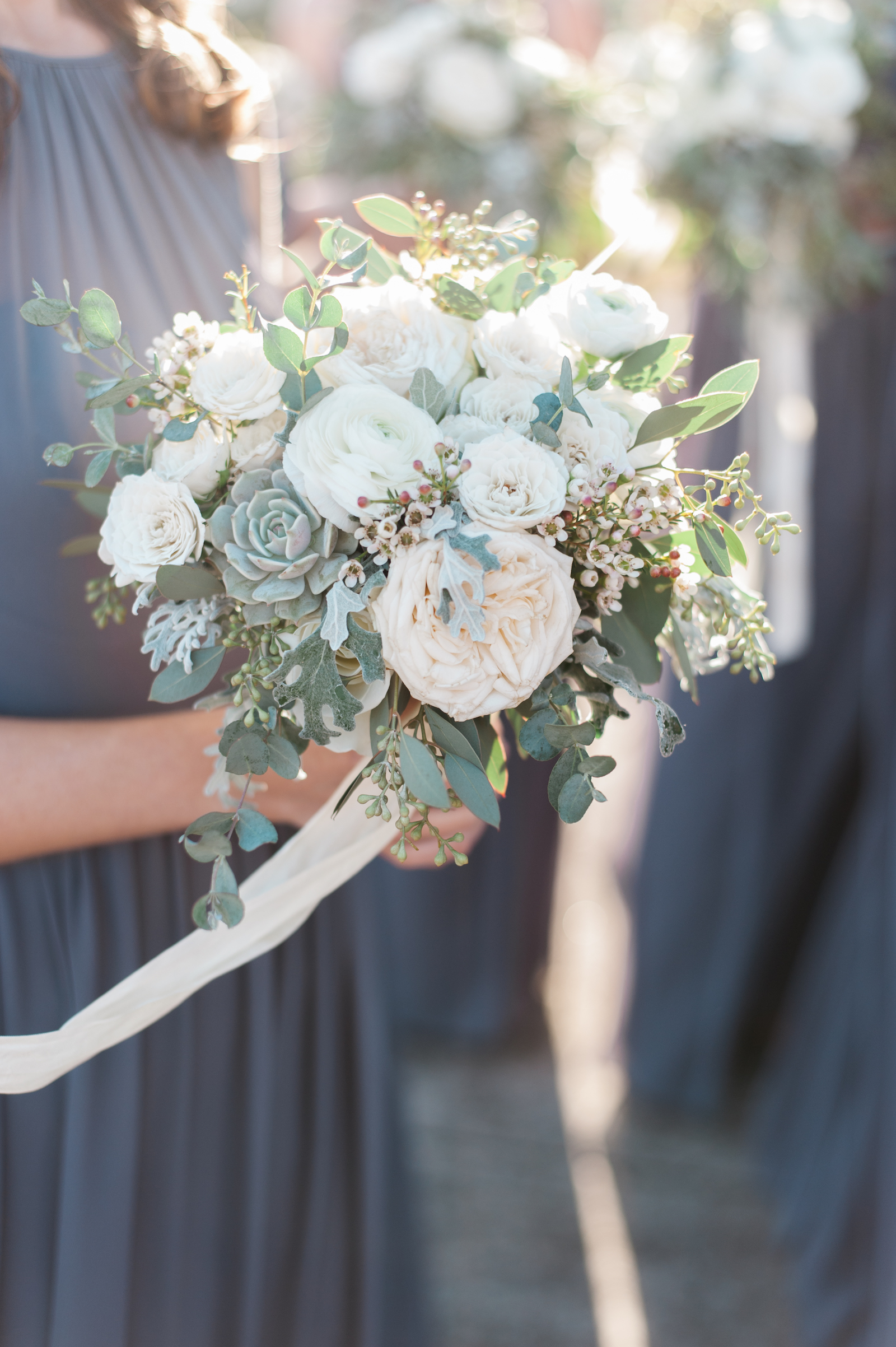 Wintry white and gray bridesmaid style // Nashville, TN Florist