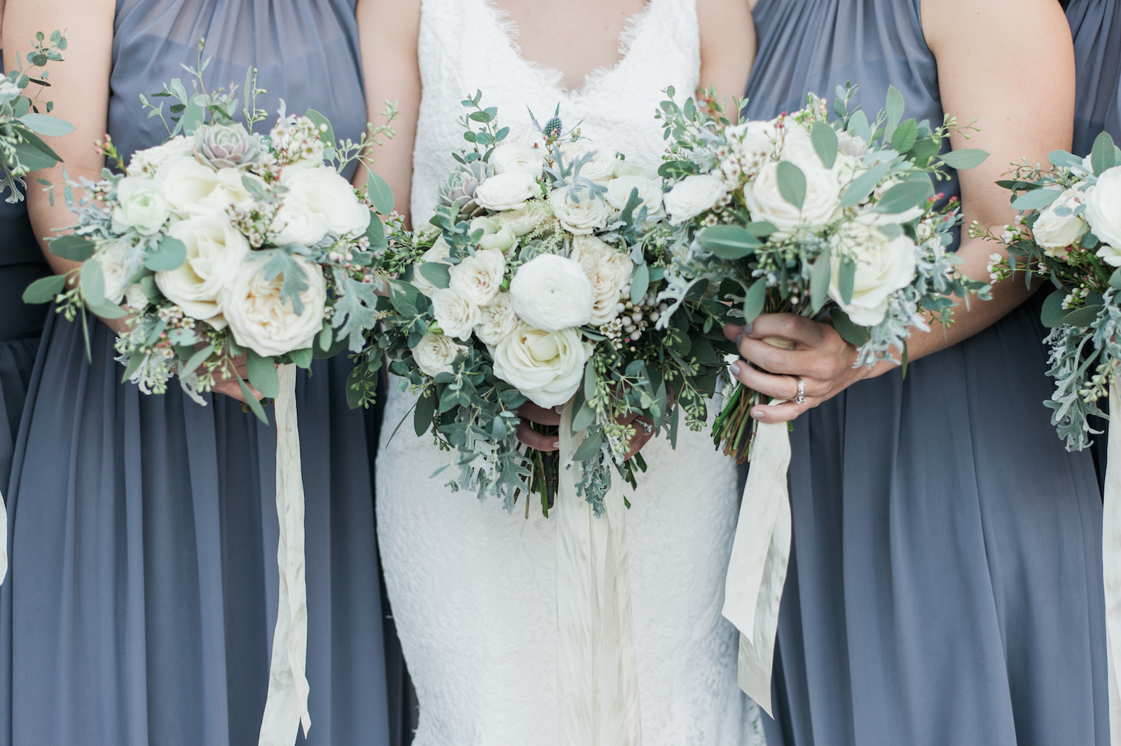 Winter Wedding with hues of ivory and grey // Nashville Florist