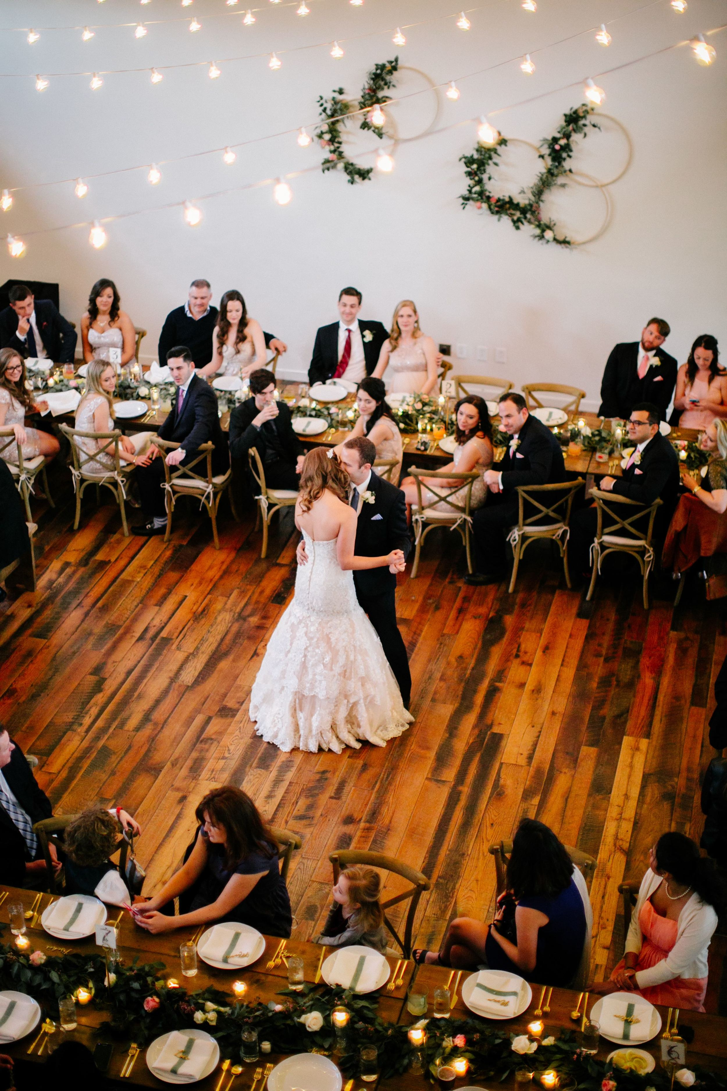 First dance surrounded by friends and family // Wedding florals for intimate Nashville wedding