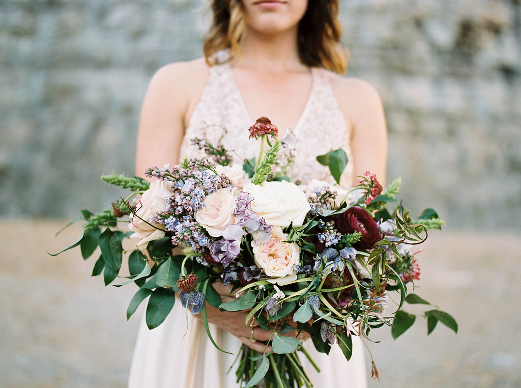 Loose, natural bridal bouquet with lilacs and ranunculus // Nashville Wedding Floral Design