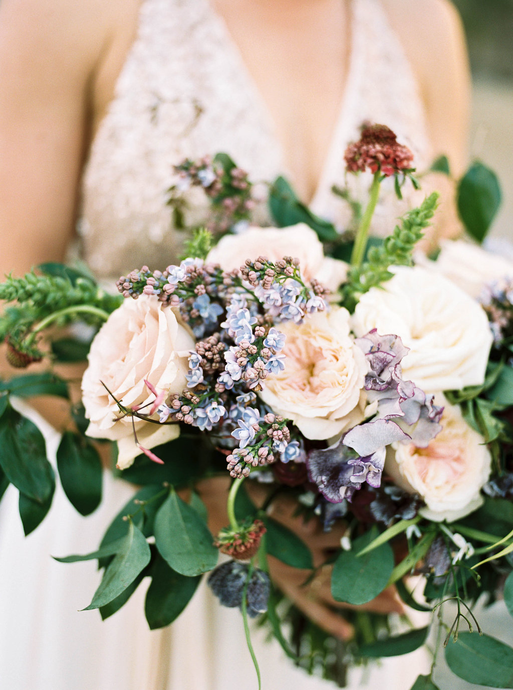 Lilac and sweet pea bridal bouquet // Nashville Wedding Flowers