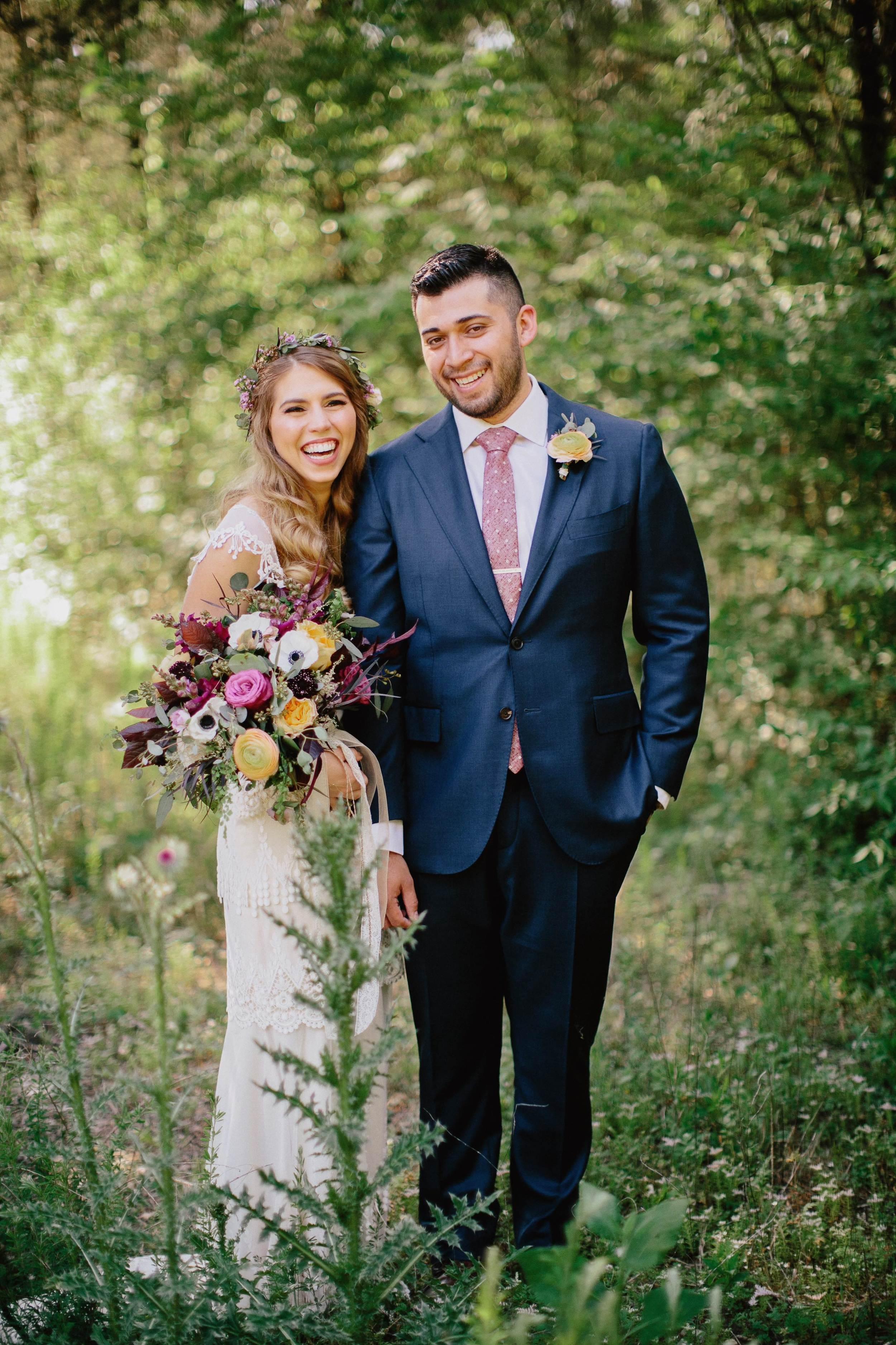 Bohemian Fiesta Wedding Inspiration // Lavender, peach, and maroon florals