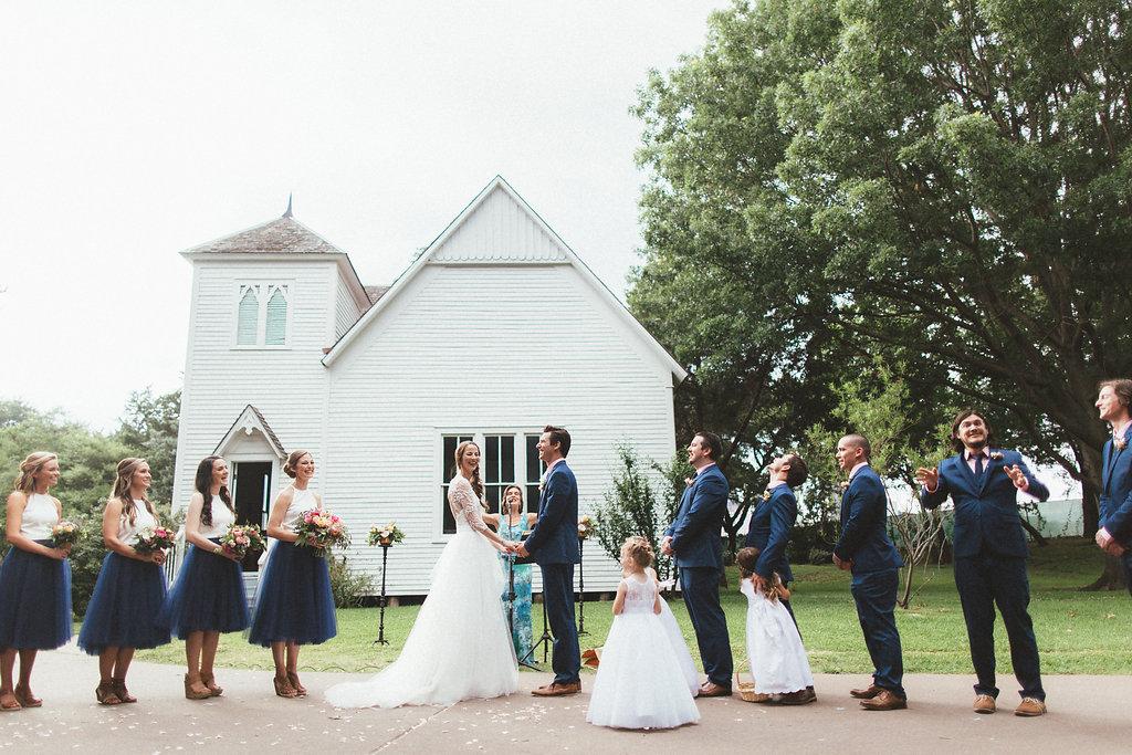 Dallas Heritage Village Wedding Ceremony // Colorful, cheery floral design
