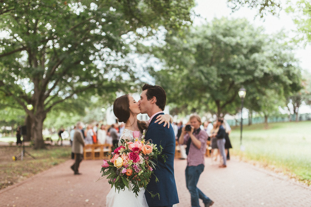 Lush, bright florals for Dallas Heritage Village Wedding