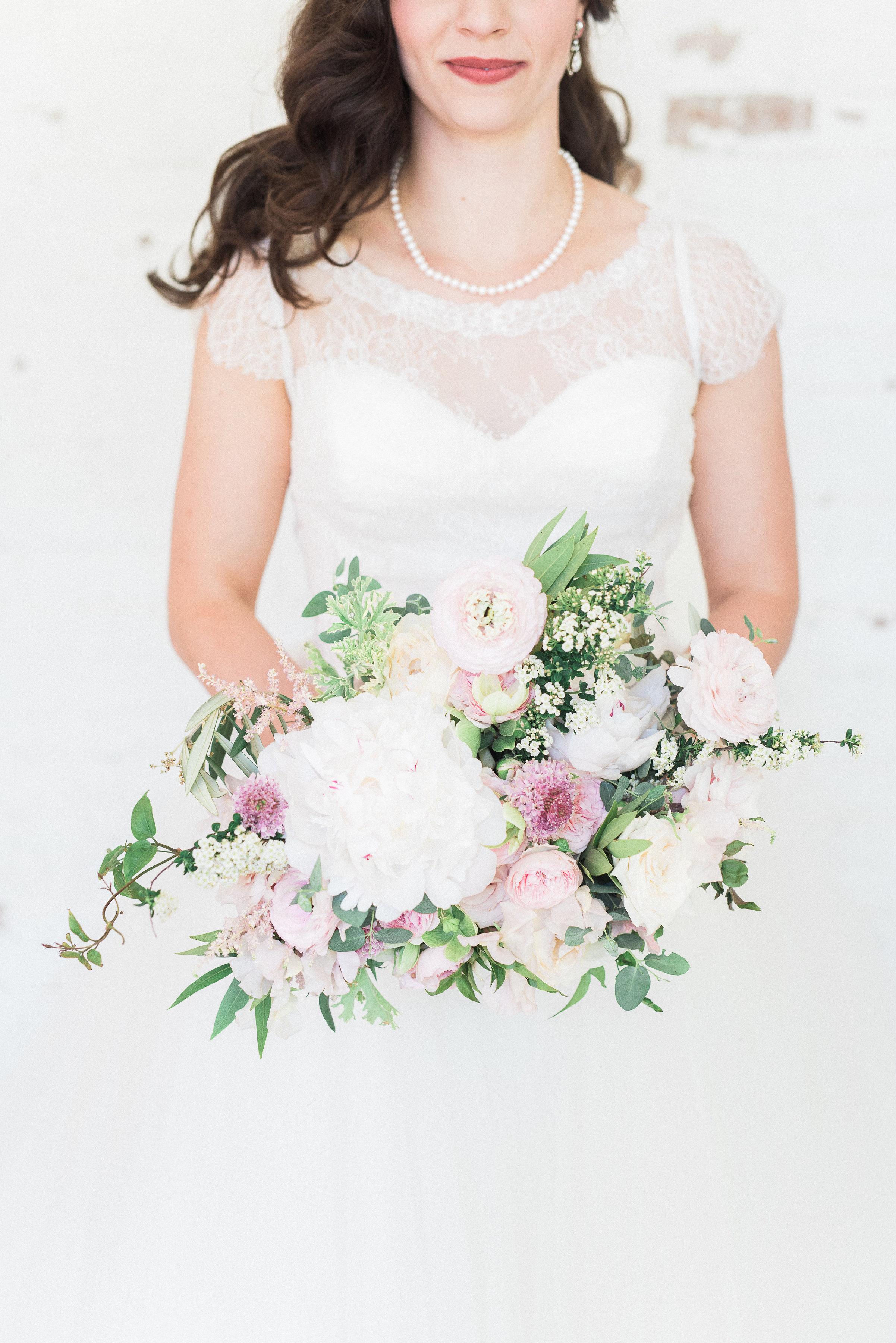 Blush and white natural floral design // Nashville Spring Wedding Florist