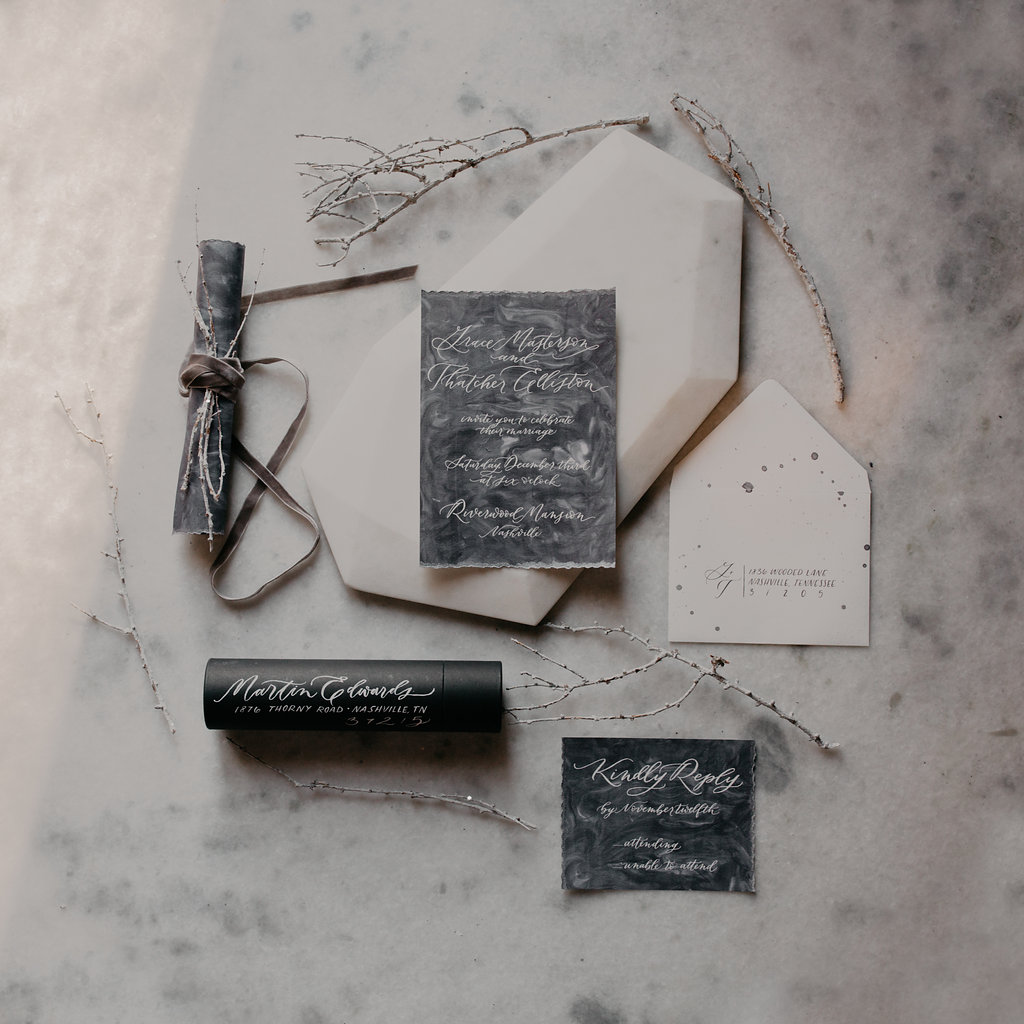 Wintry Wedding Inspiration--gray and marble // Nashville Floral Design