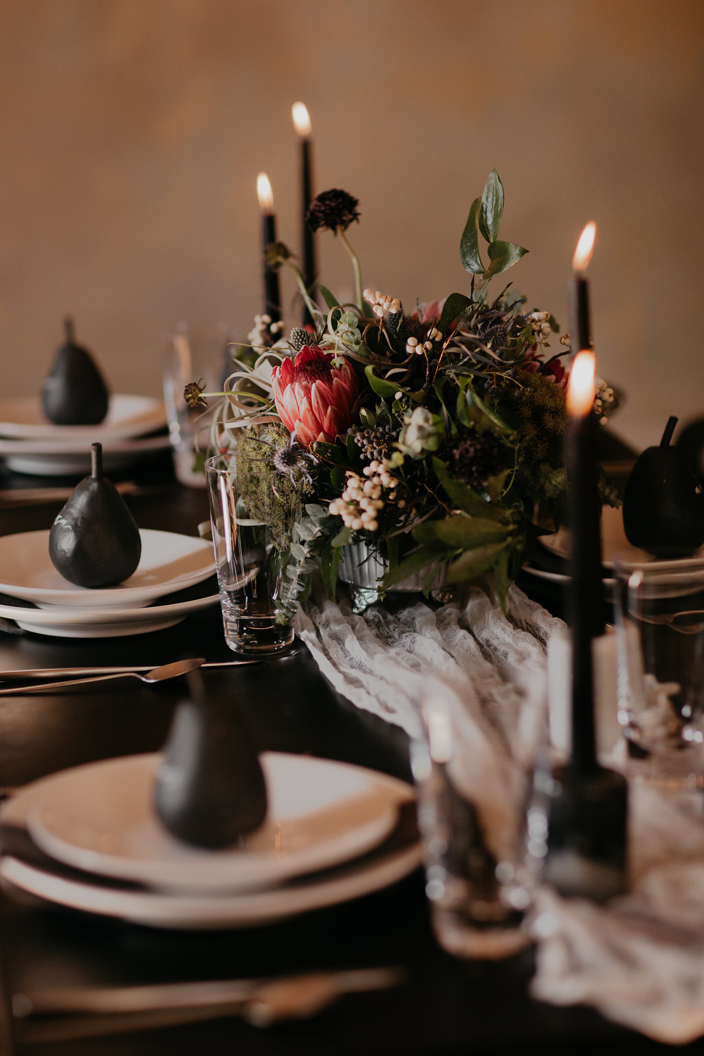 Wintry Wedding Inspiration--gray and deep red florals with texture // Nashville Florist
