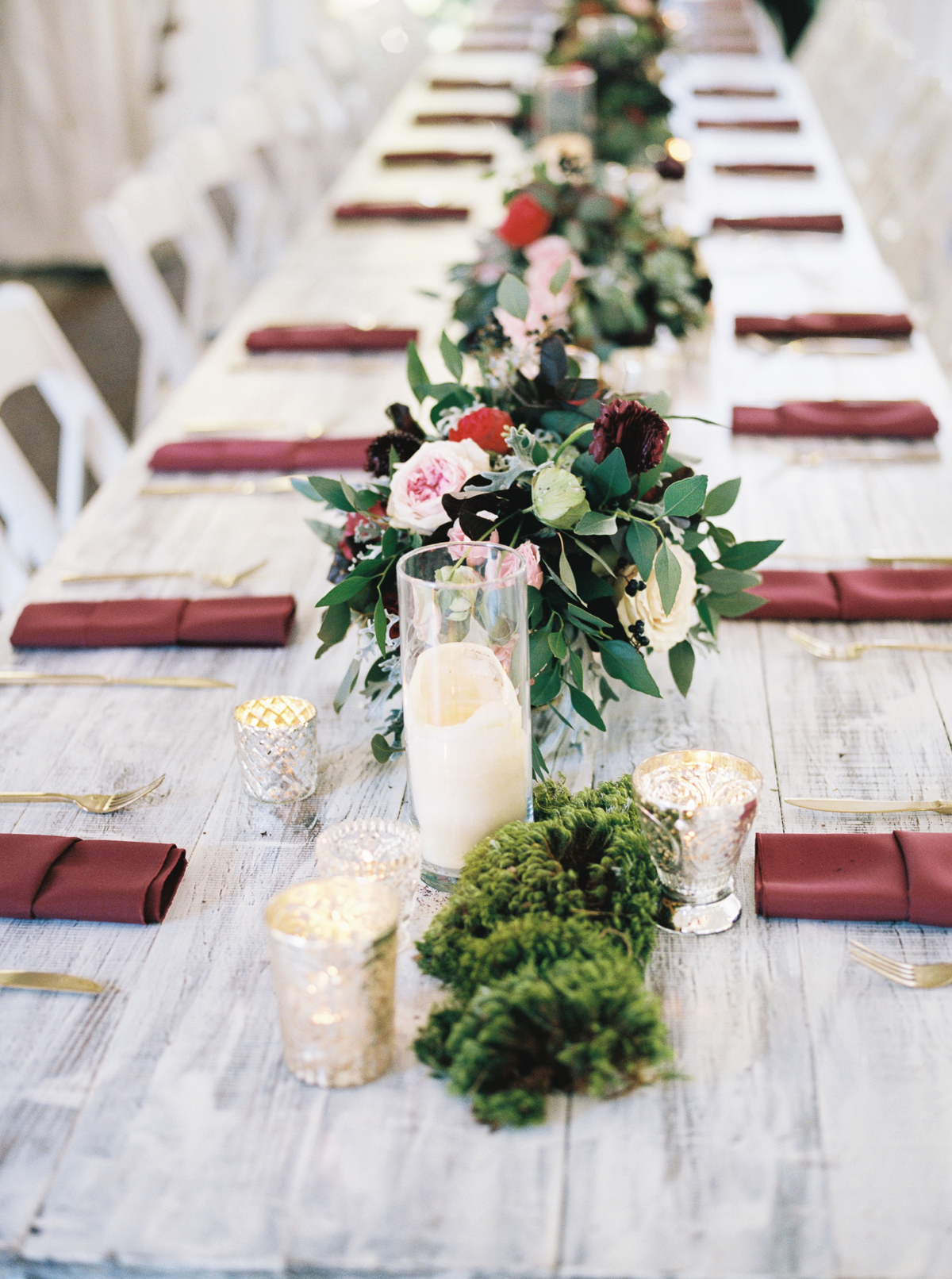 Wine, Marsala, and berry toned wedding flowers with moss accents // Nashville Florist