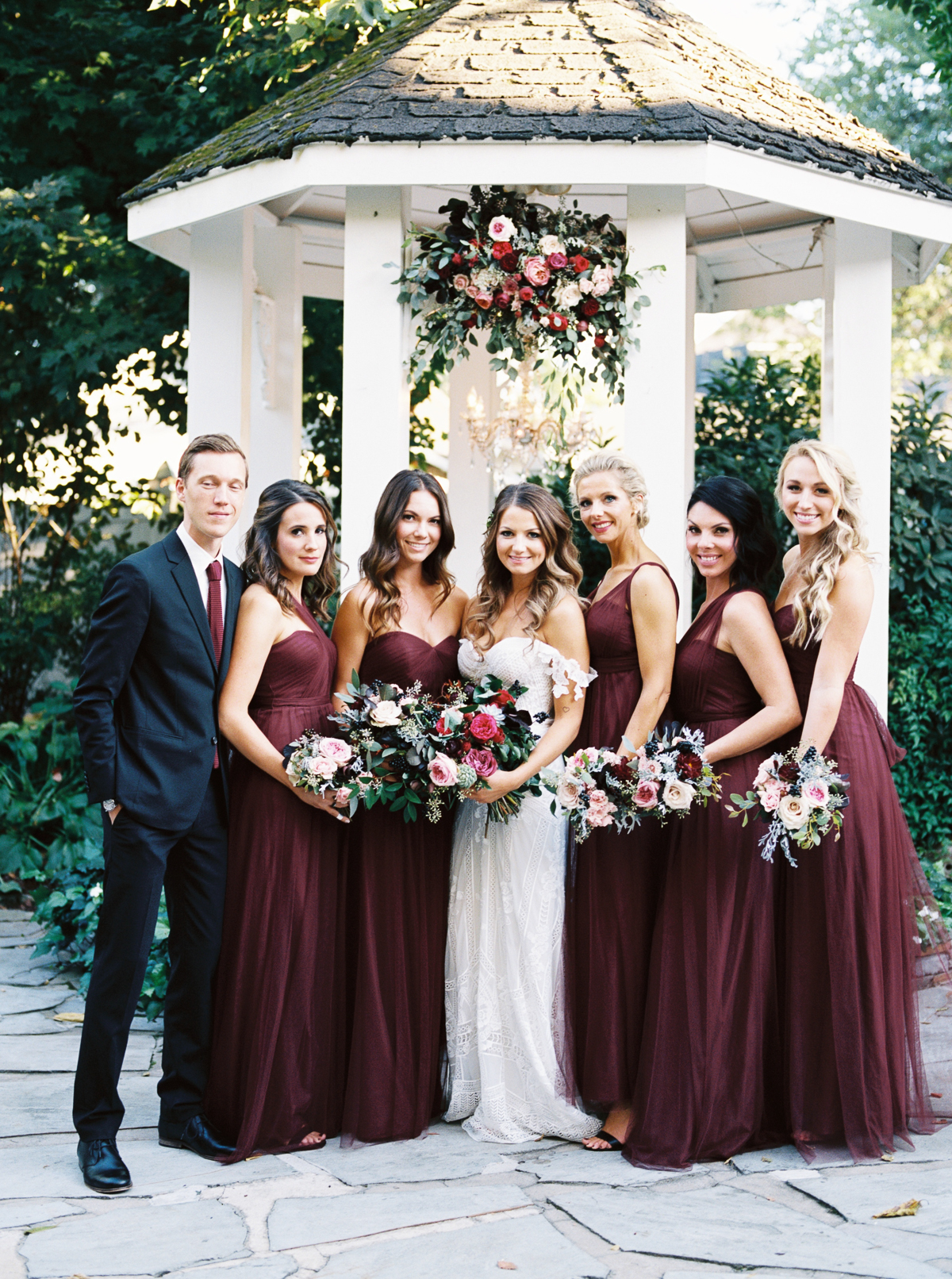 Wine colored bridesmaid dresses // White Gazebo Wedding // Nashville Florist