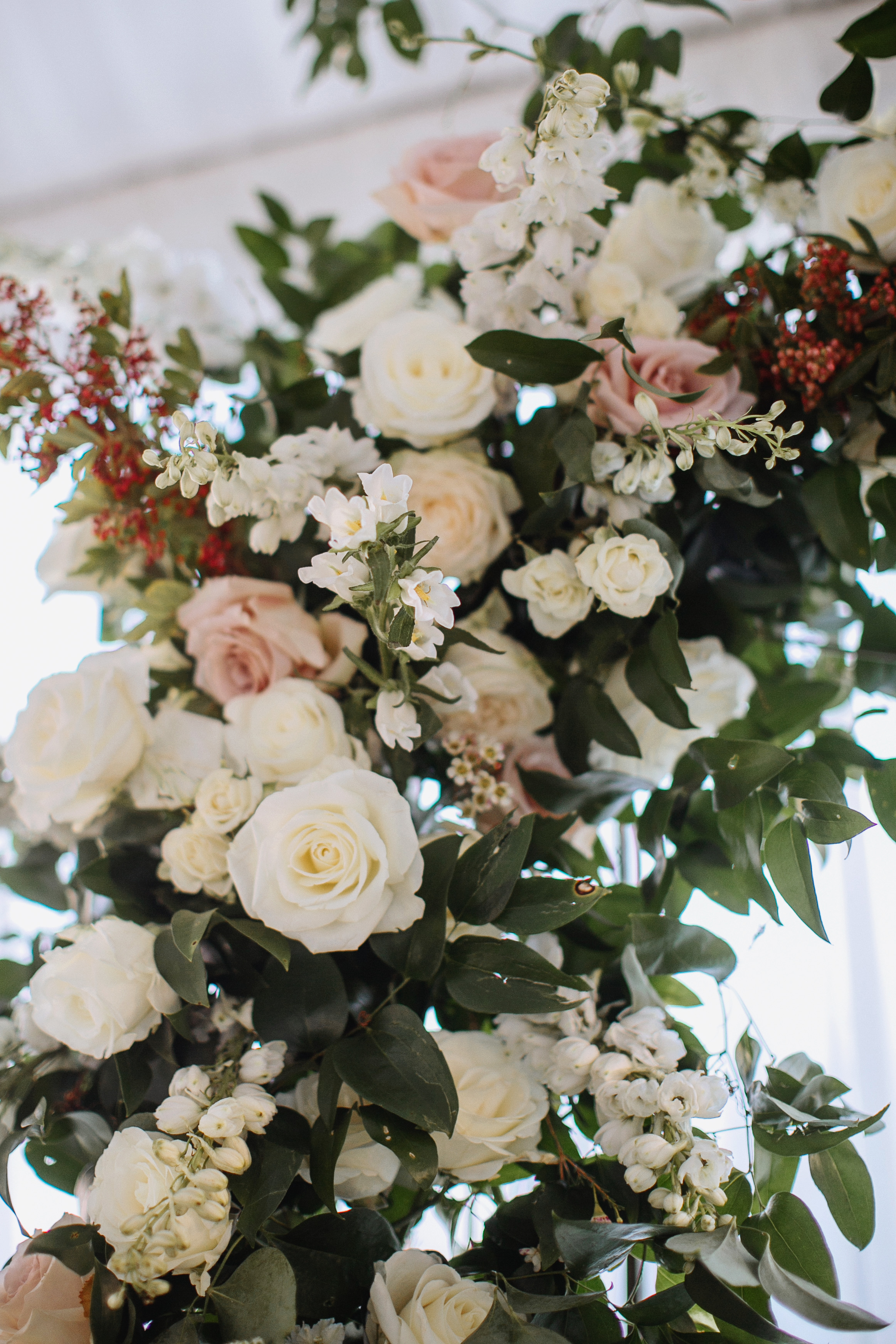 Arbor Florals // Wedding Ceremony Backdrop for Christmas Wedding