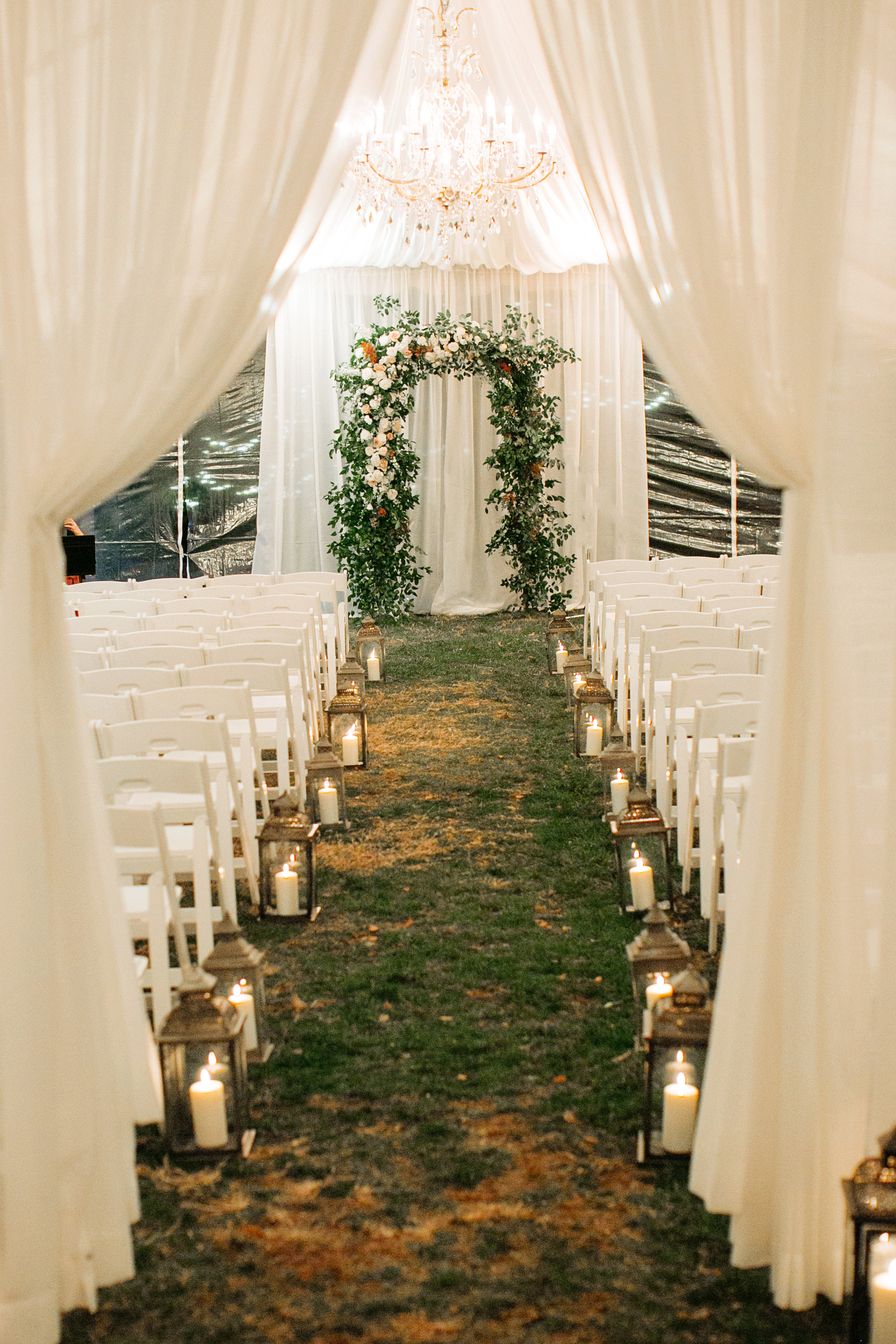 Loose, natural greenery arch with blush, cream, and neutral florals // Nashville Wedding Florist