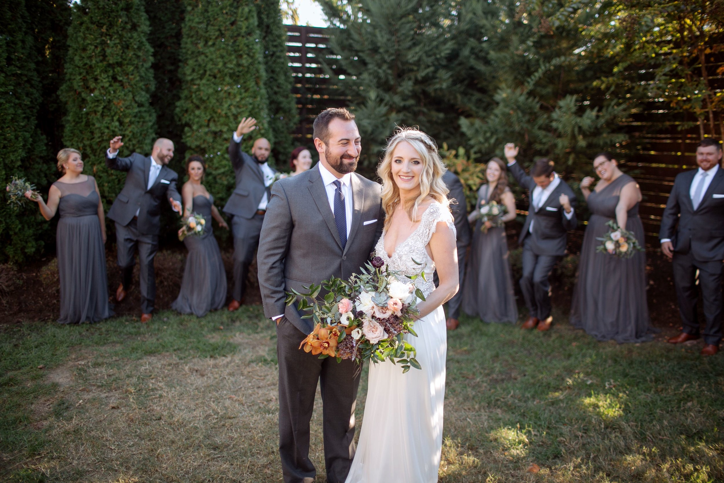 Whimsical, organic bridal bouquet with neutral, blush, and copper tones // Nashville Wedding Florist