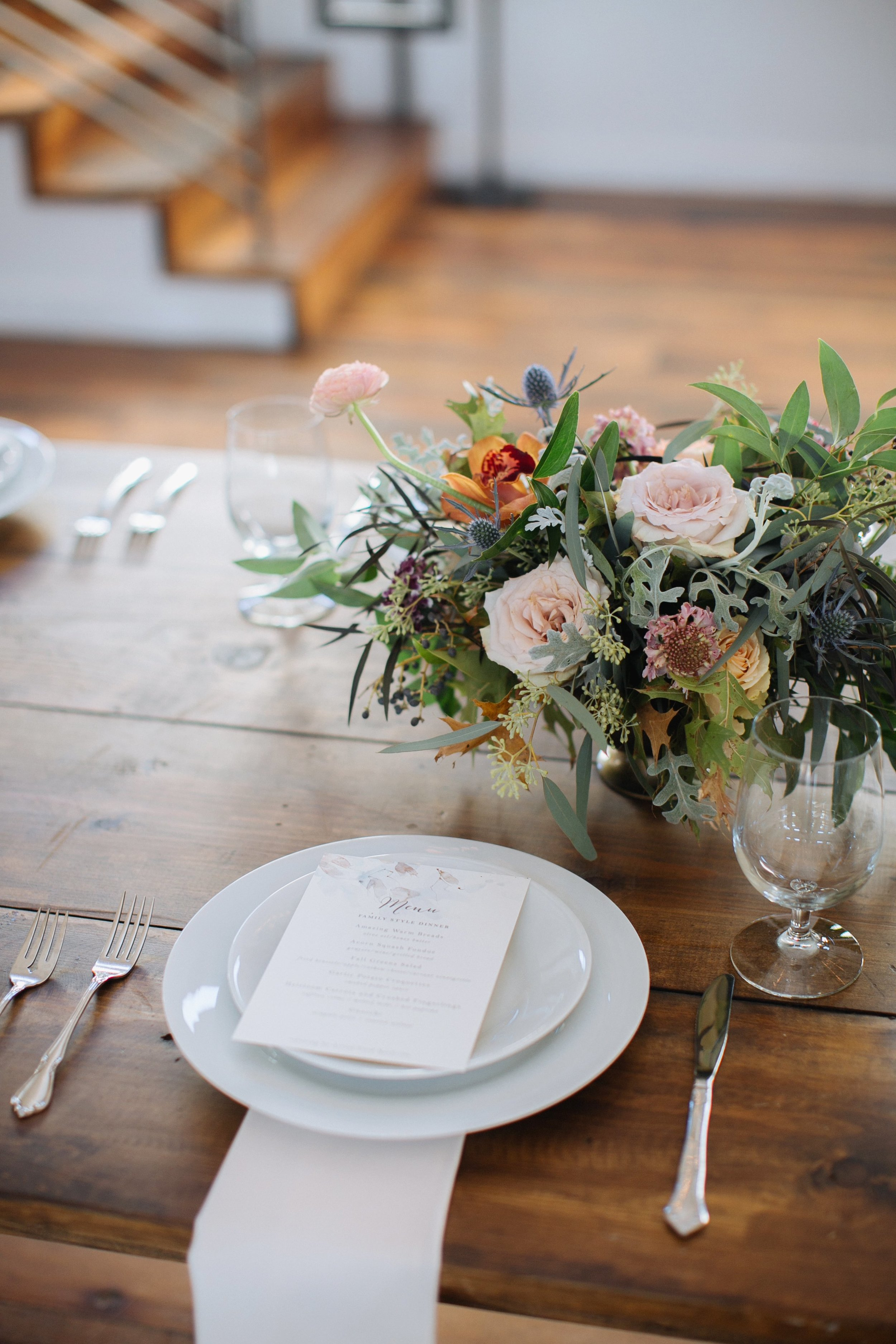 Whimsical, organic centerpiece with neutral, blush, and copper tones // Nashville Wedding Florist