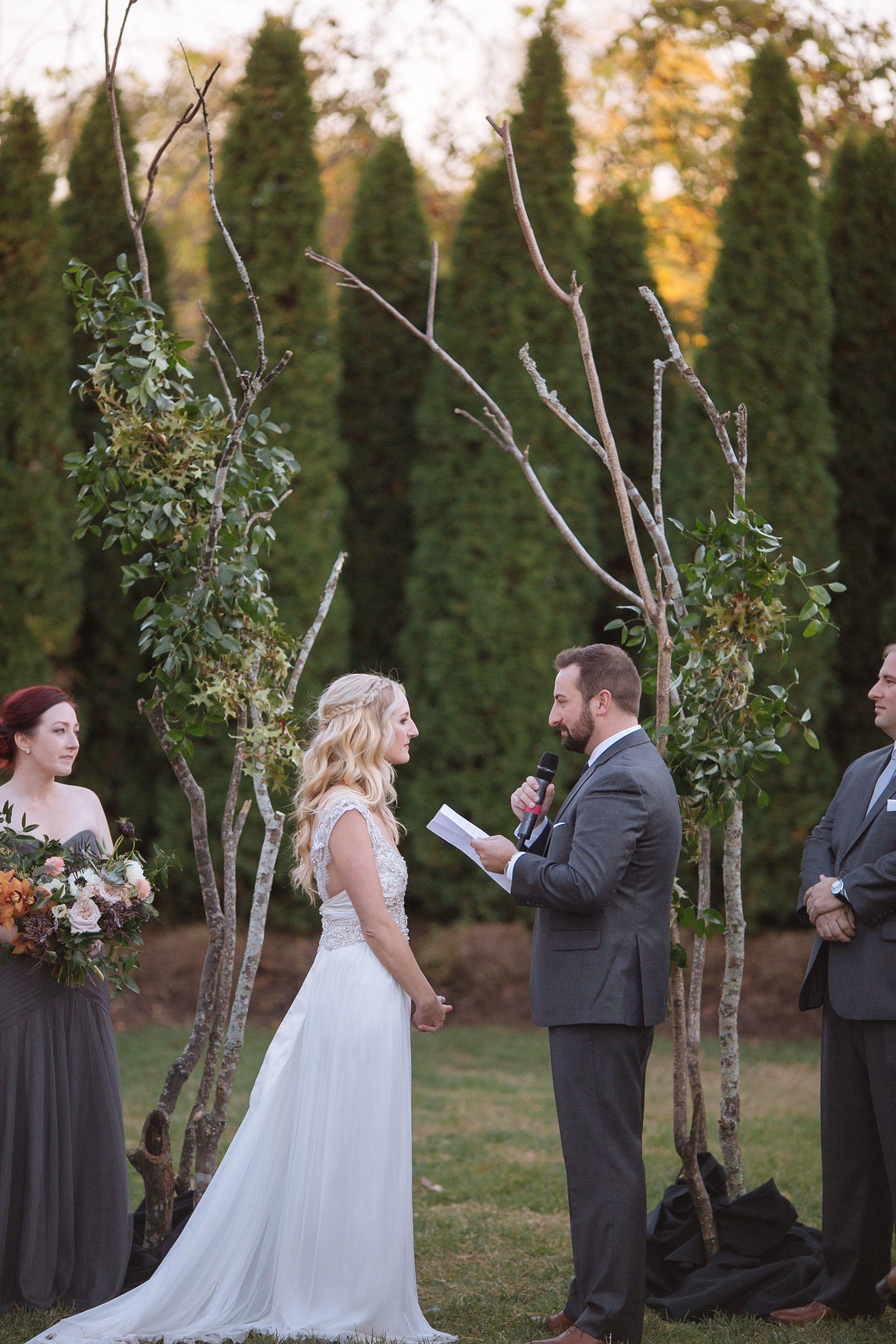 Organic tree branch wedding backdrop // Nashville Florist