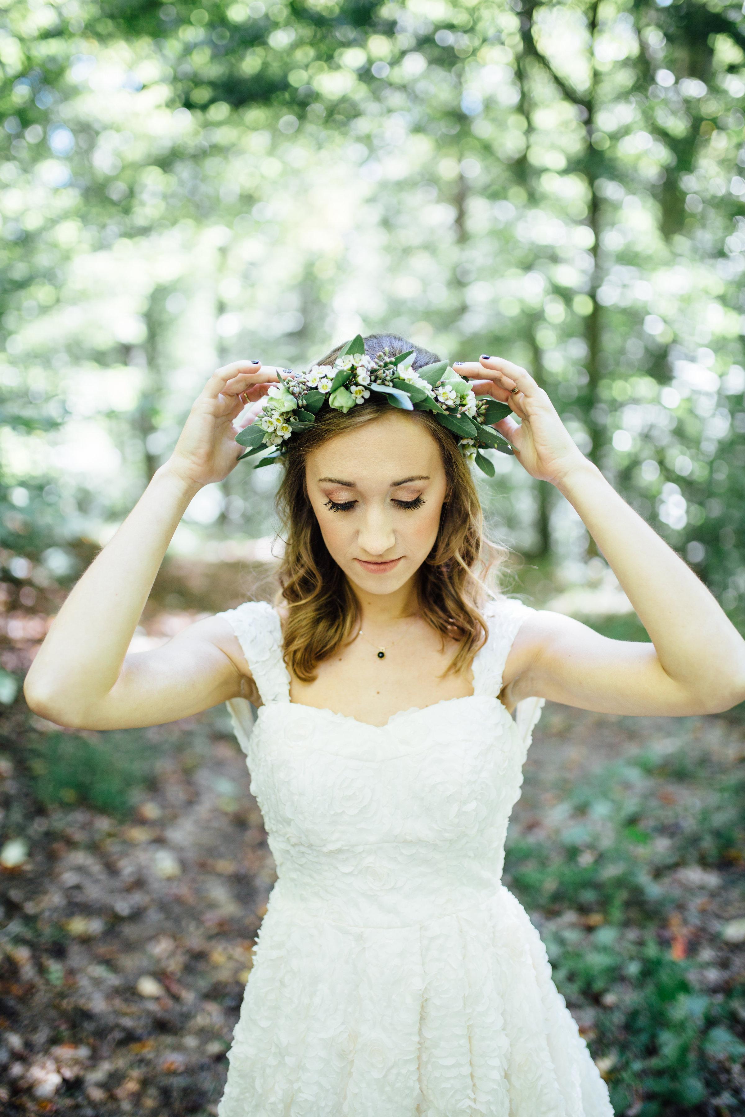 Natural, organic bridal flower crown // Nashville Wedding Florist