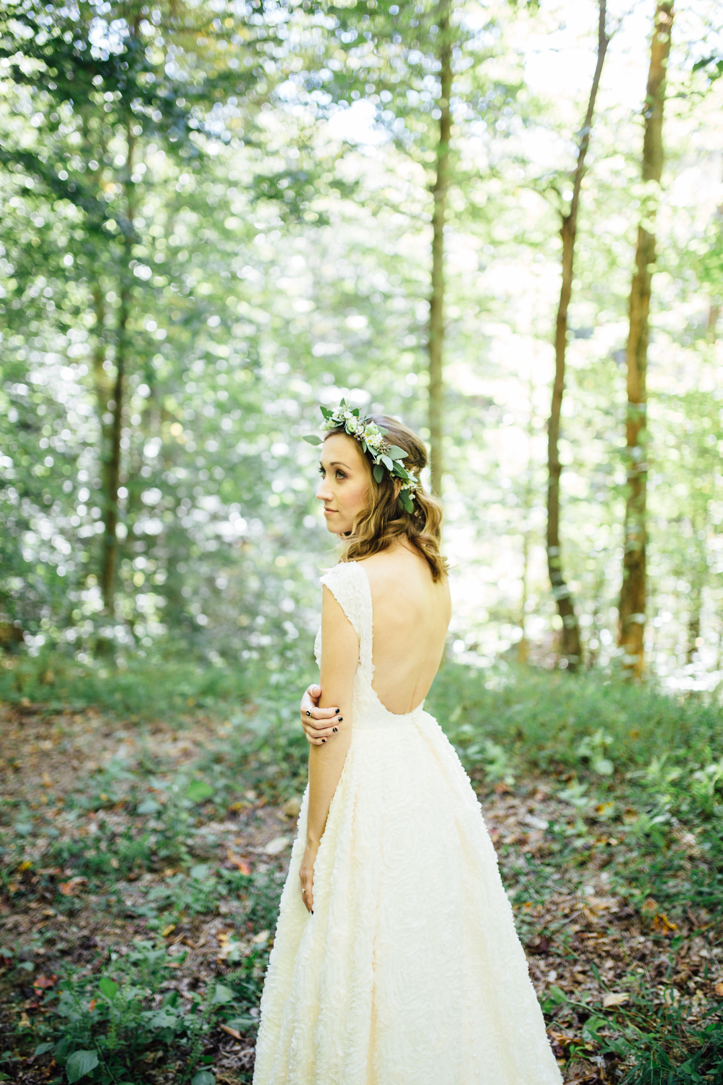 Woodland Bridal Portrait with greenery floral crown // Nashville Wedding Florist