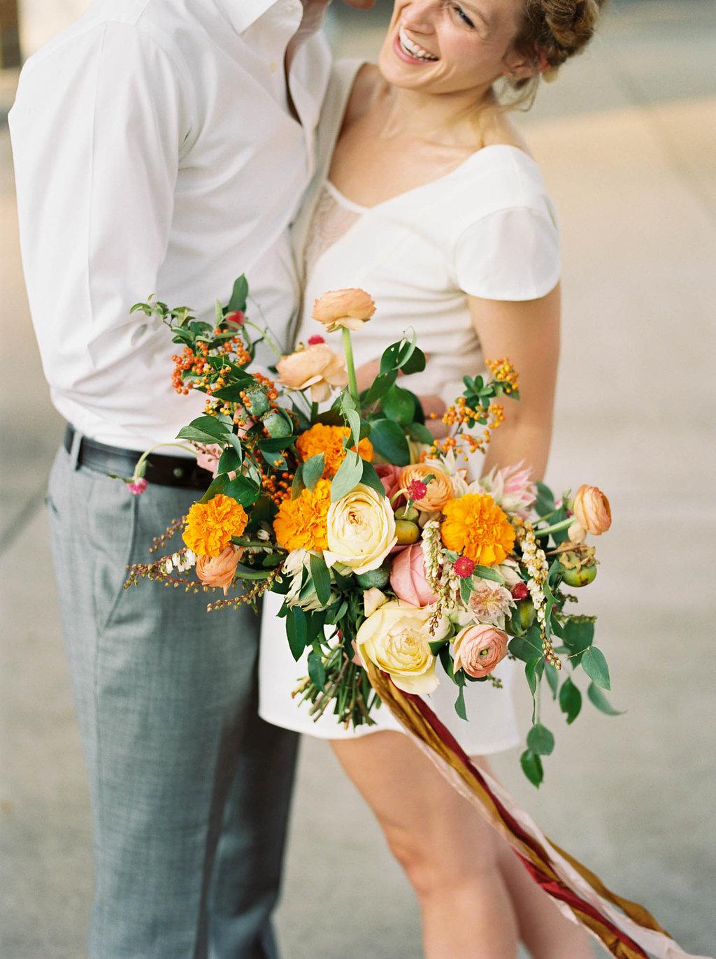 Retro elopement wedding inspiration with cheerful, colorful florals // Nashville Wedding Florist