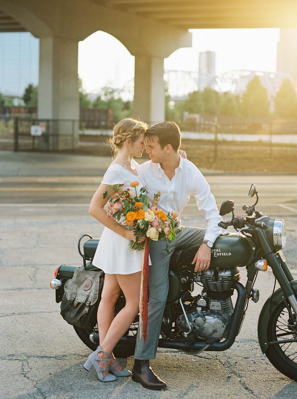 Retro elopement wedding inspiration with a motorcycle and colorful flowers // Nashville Wedding Florist