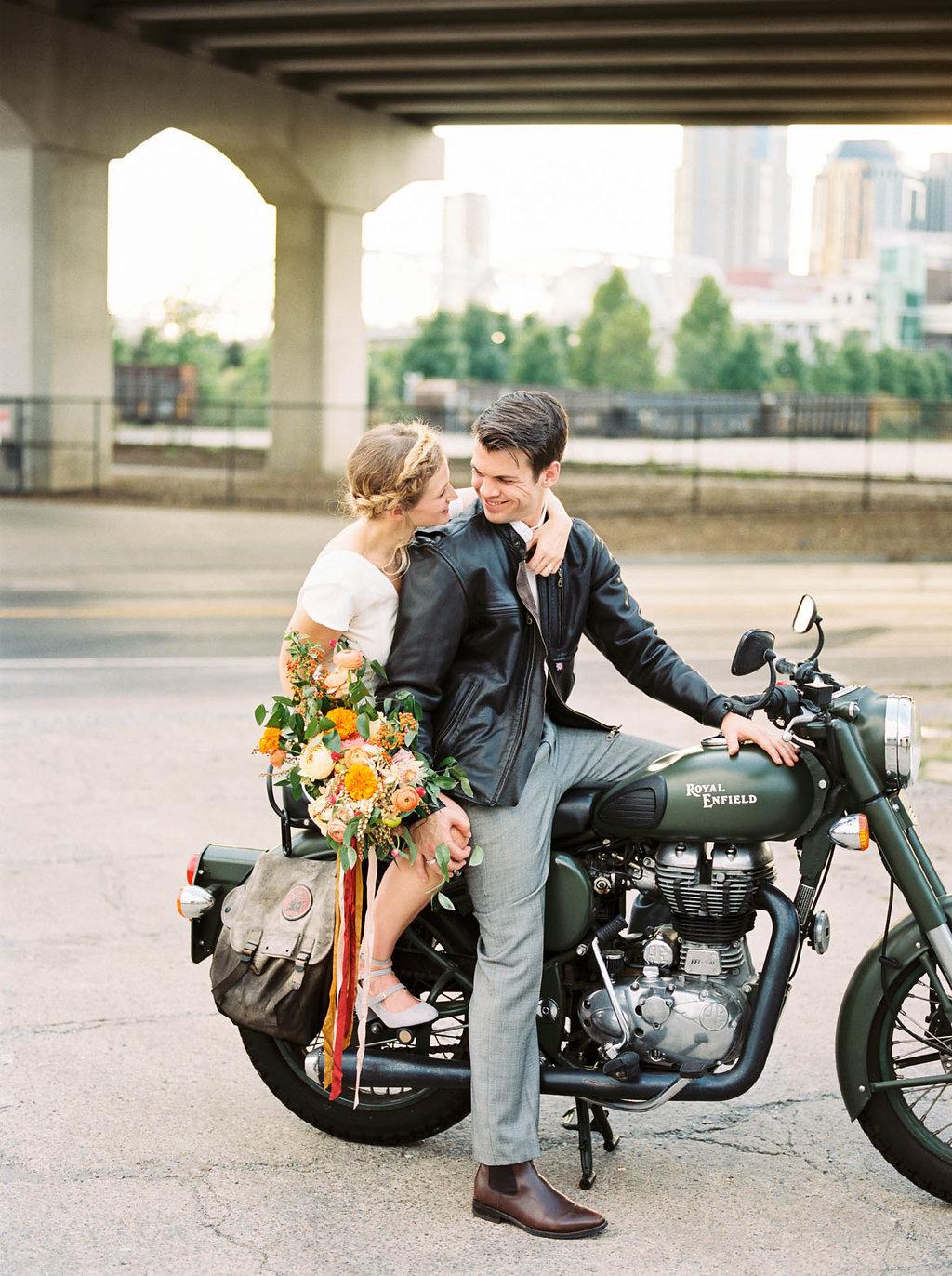 Motorcycle getaway // Nashville Wedding Floral Design