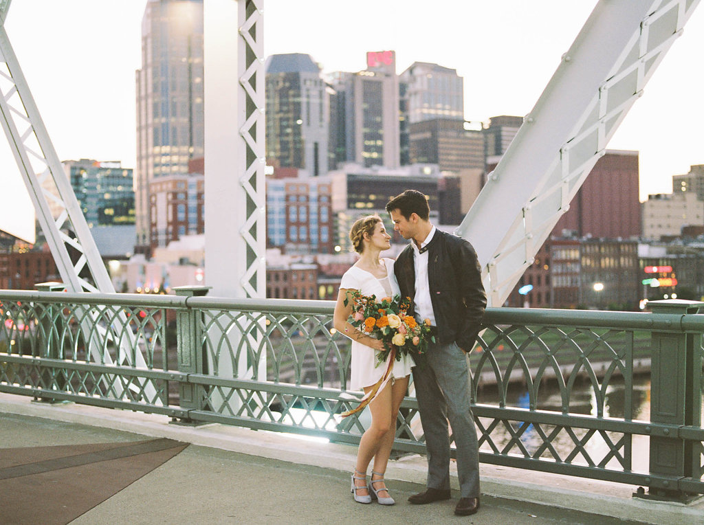 Downtown Nashville Retro Elopement with Motorcycle // Nashville Wedding Floral Design