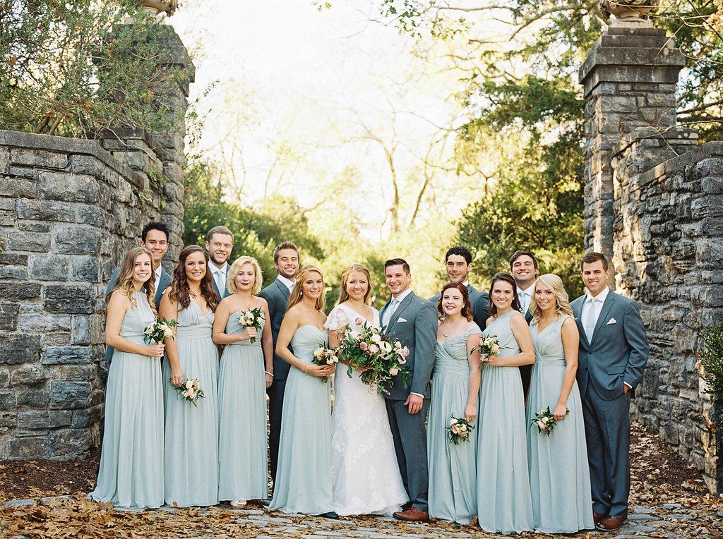 Seafoam blue bridesmaid dresses for a botanic garden wedding with organic floral design, Nashville