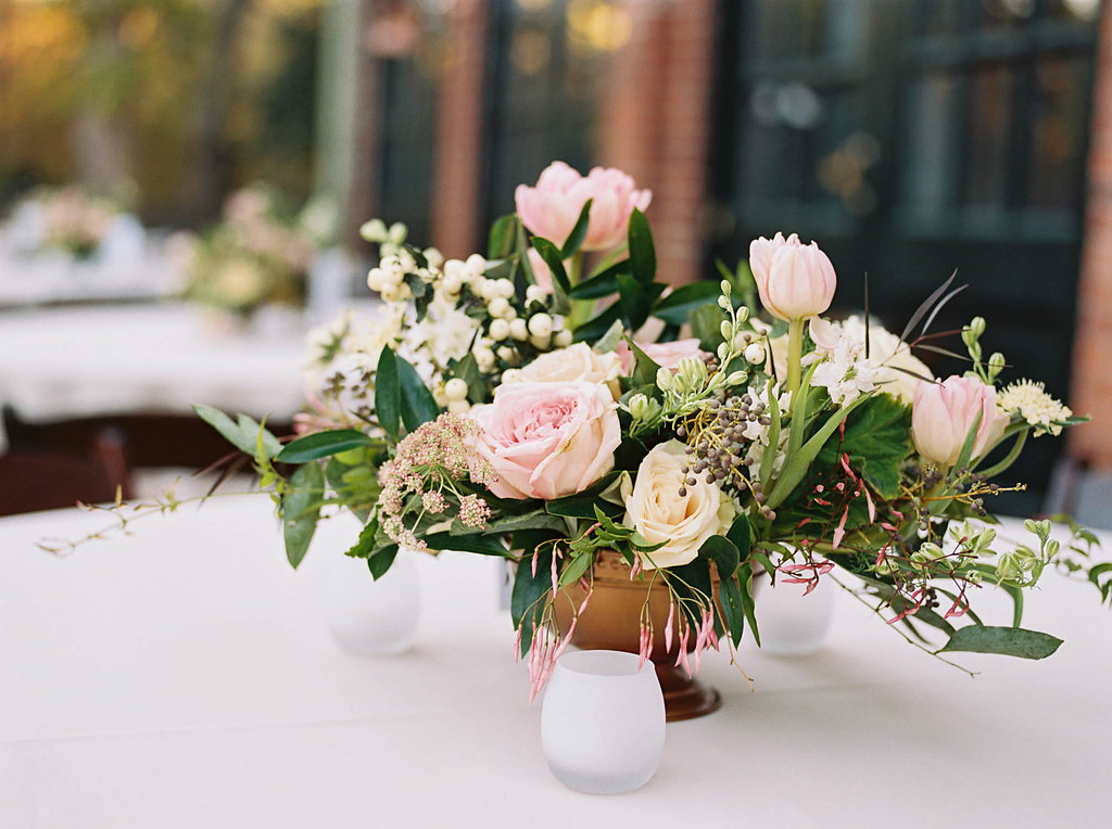 Loose, natural centerpiece with blush flowers and lots of texture and greenery // Nashville Wedding Florist