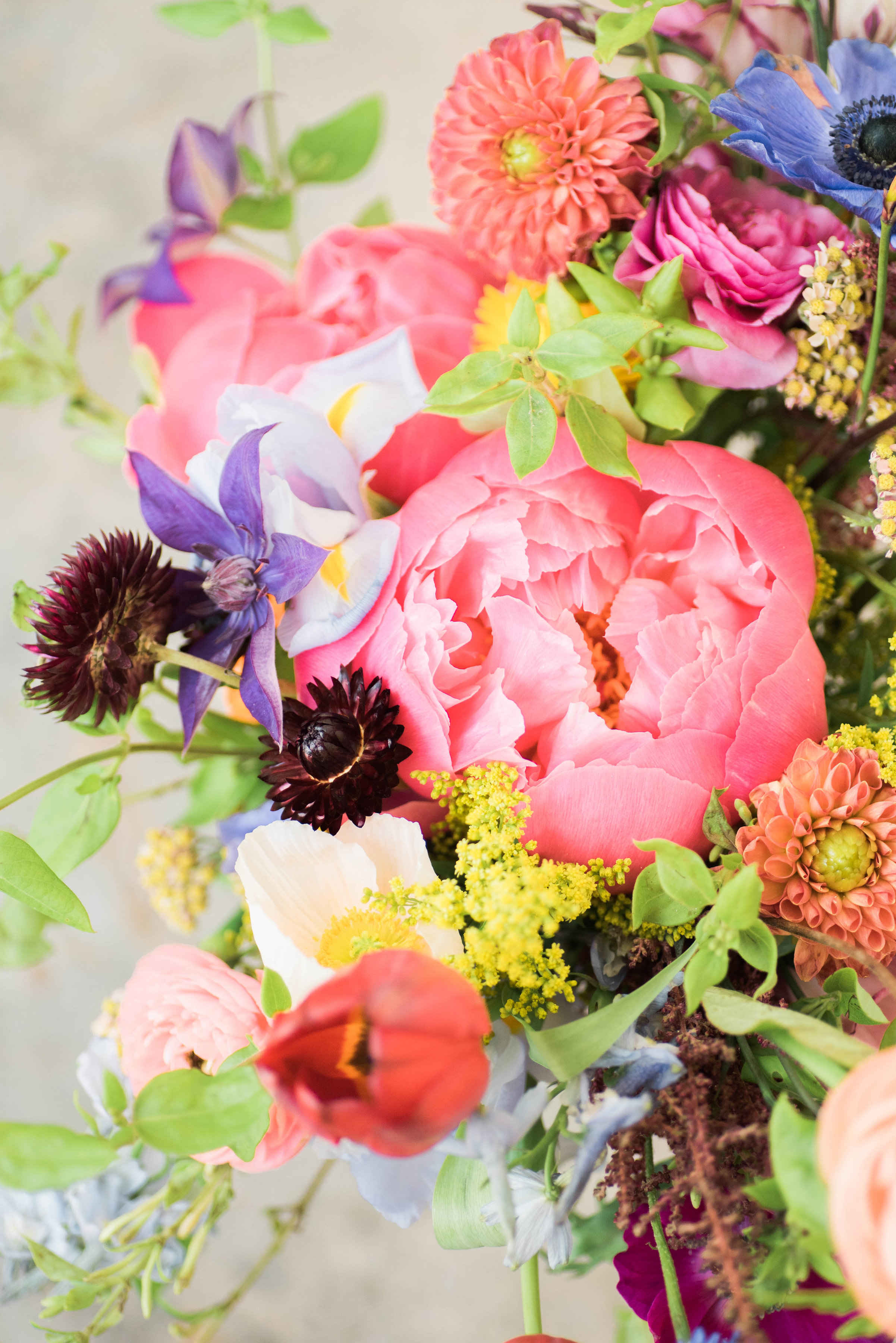 Natural, wildflower style bridal bouquet with peonies, strawflower, anemones, dahlias, ranunculus // Chagall inspired wedding flower in Nashville