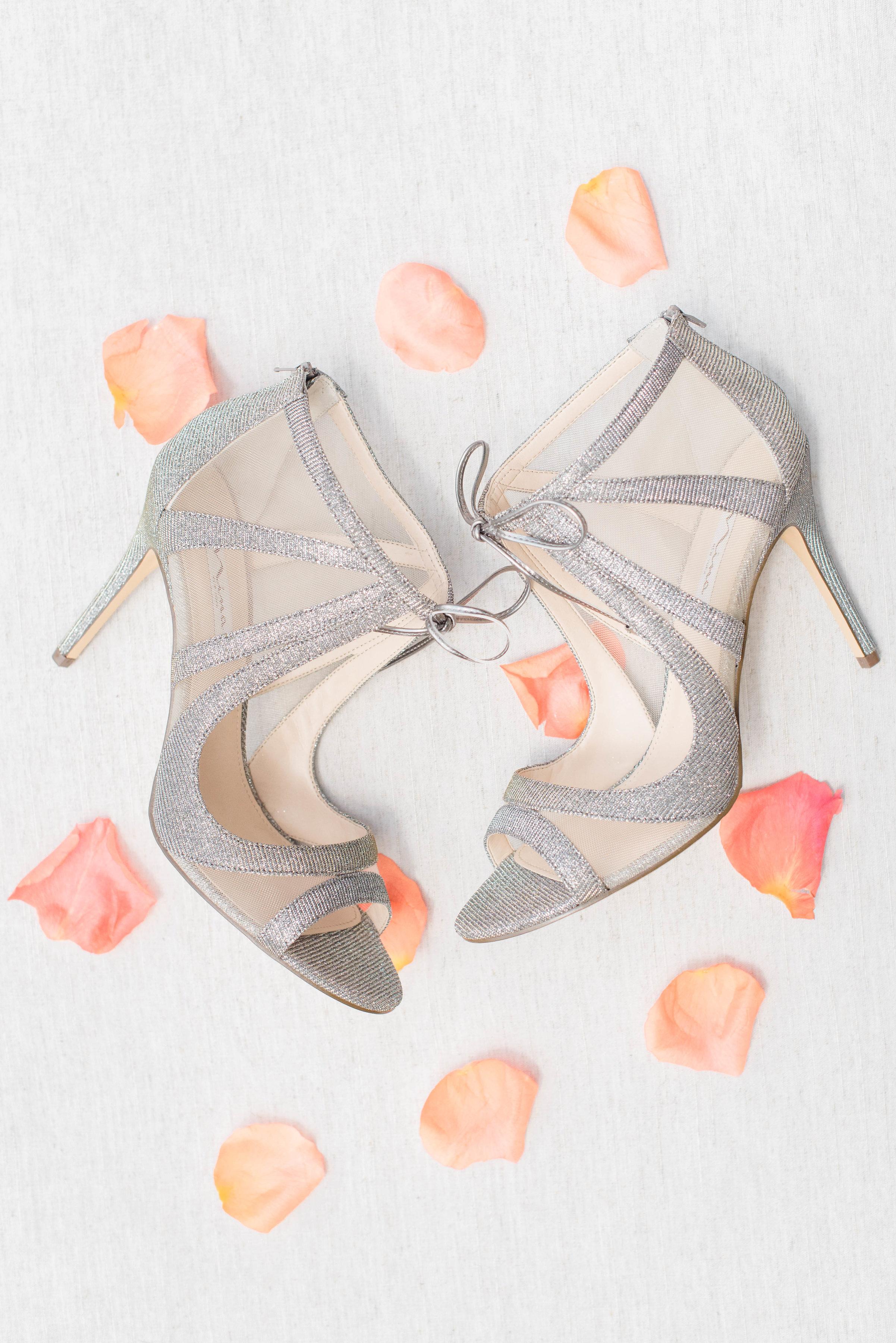 Bridal shoes with rose petals // Nashville Wedding Floral Design