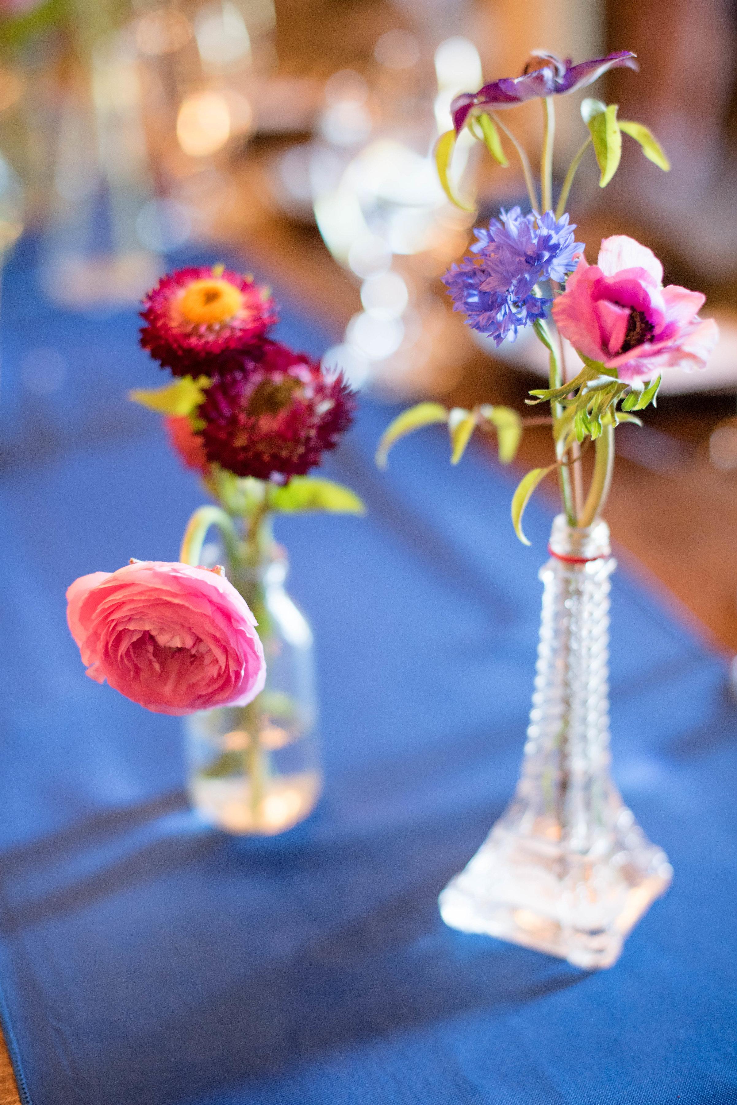 Ranunculus and cornflower bud vases // Nashville Wedding Florist