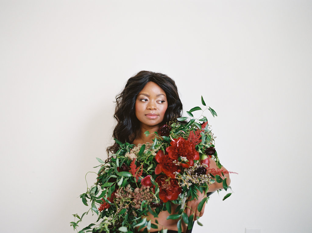 Model Dressed in Flowers // Nashville Floral Design