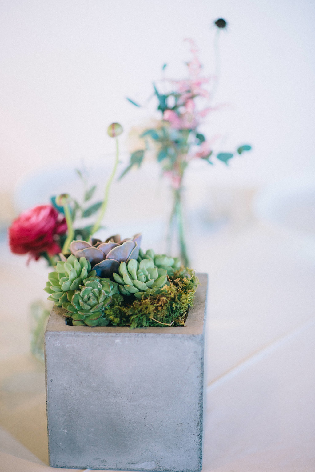 Stone box with succulents and moss centerpiece // Southeastern Wedding Floral Design