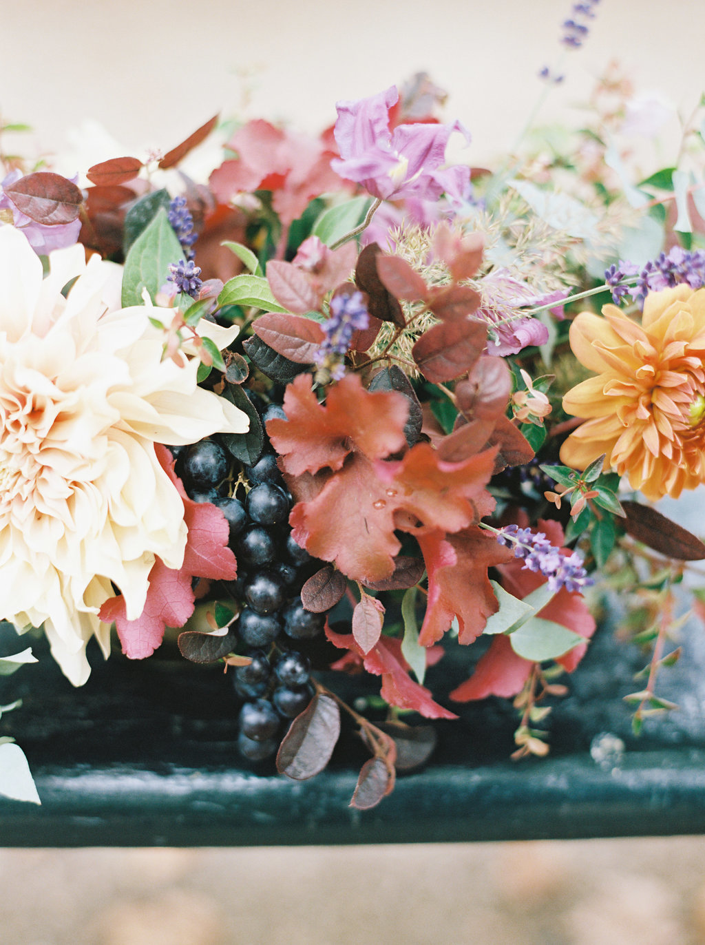 Organic, lush floral centerpiece with cafe au lait dahlias and French lavender // Paris Wedding Floral Design