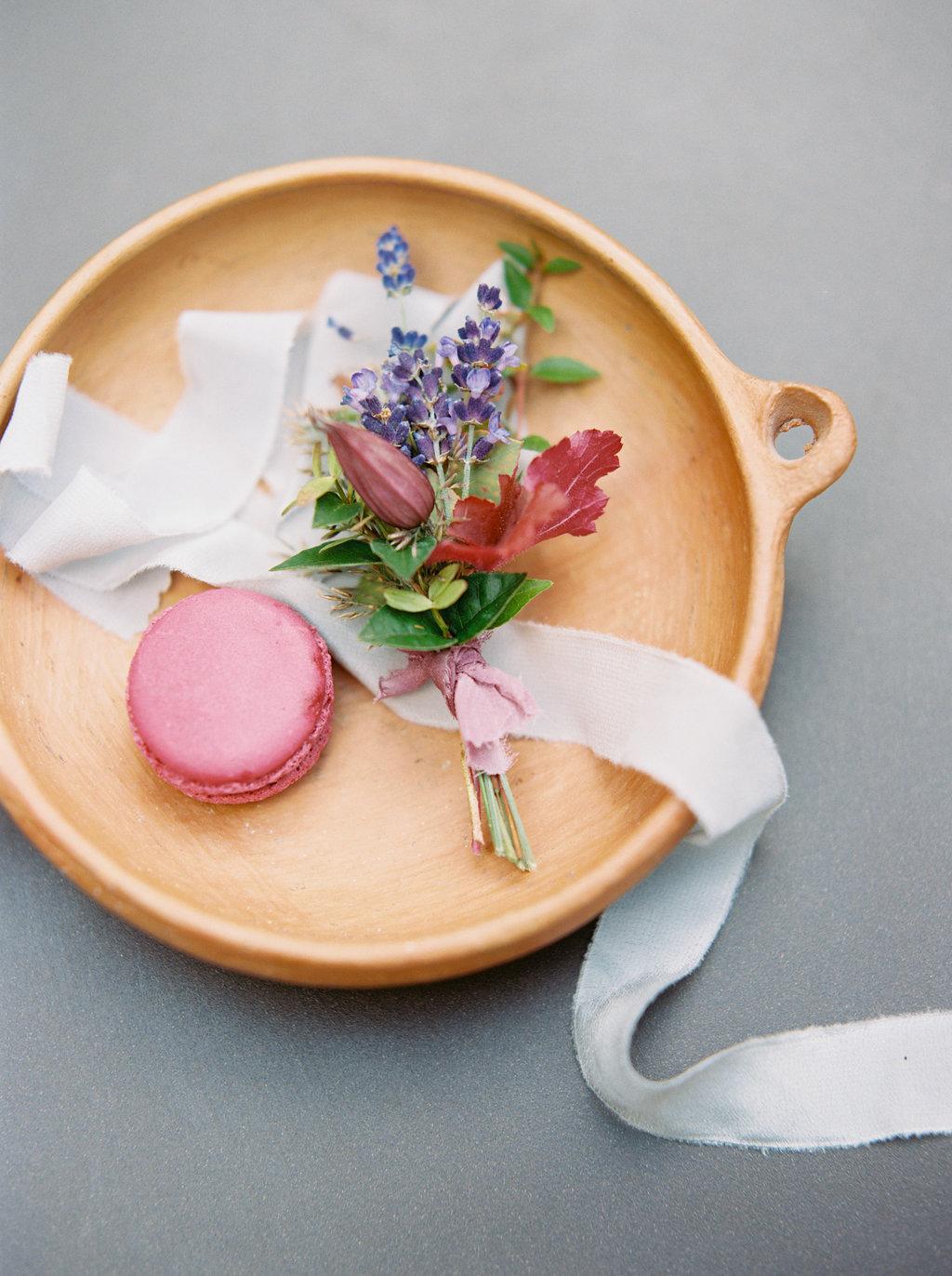 French Macarons, French lavender boutonniere, silk ribbon // Paris Elopement Floral Design
