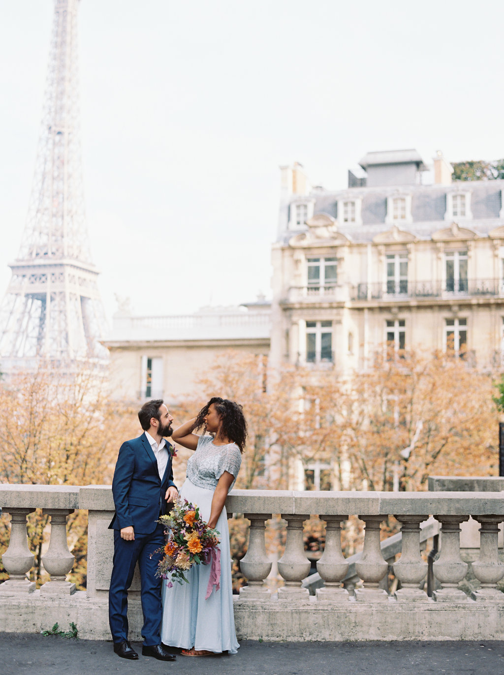 Paris Elopement in front of the Eiffel Tower // Lush, untamed wedding floral design