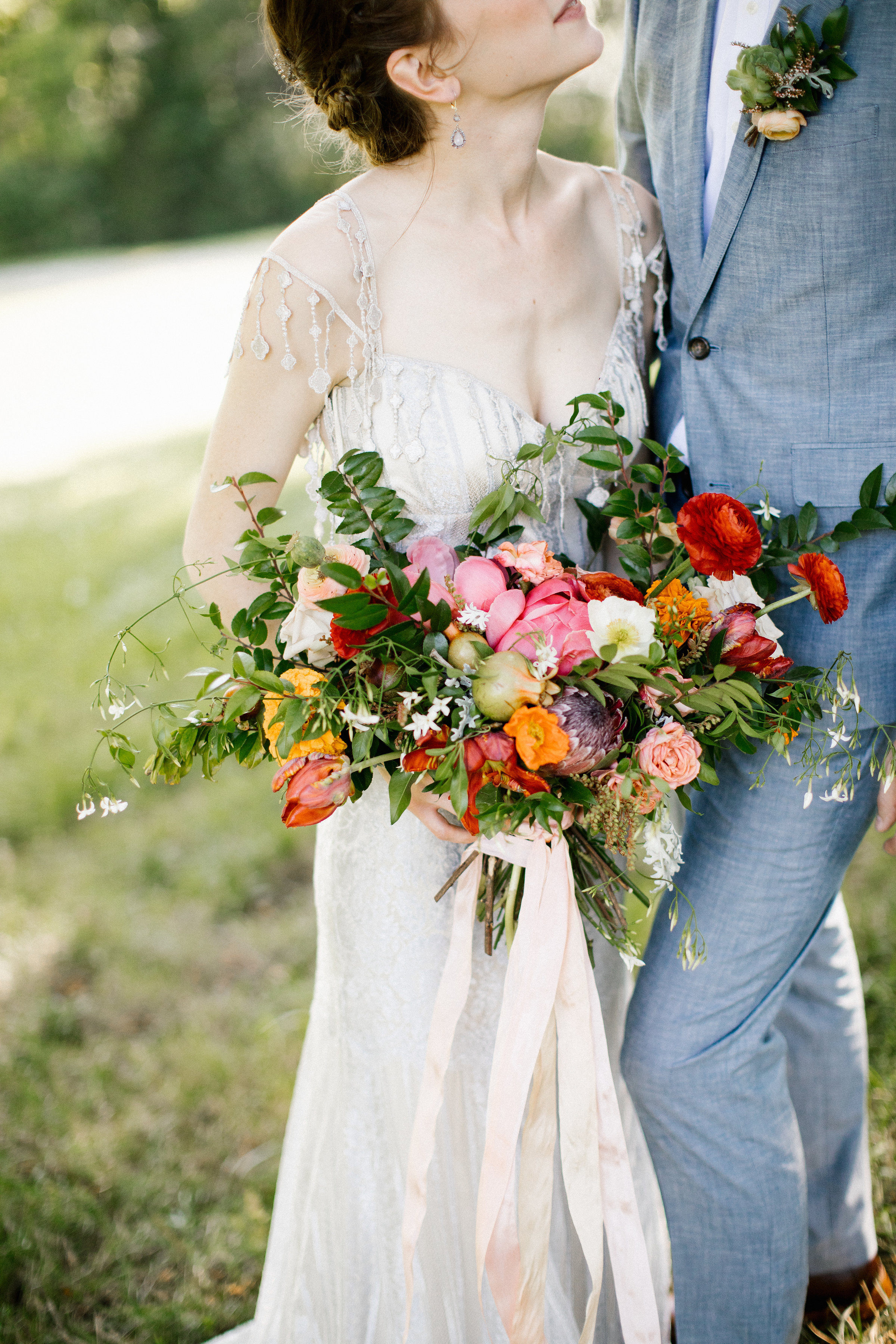 Summery, organic bridal bouquet with ranunculus, peonies, and Icelandic poppies // Nashville Wedding Florist