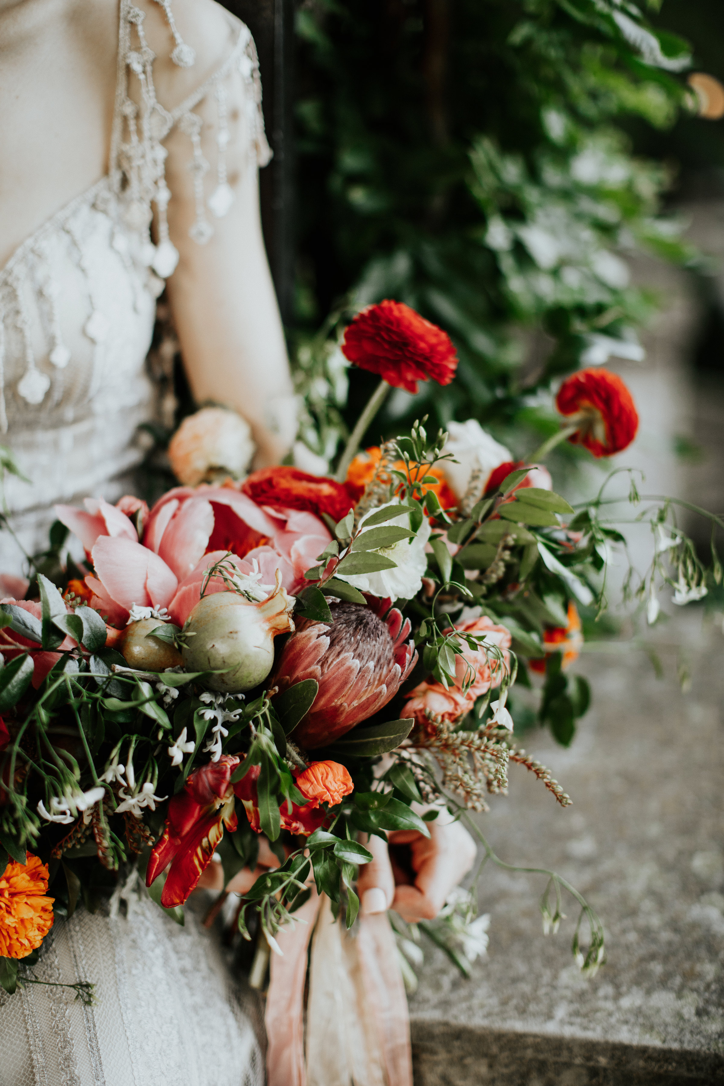 Lush bridal bouquet with fruit and ranunculus // Natural Floral Design in Nashville, TN