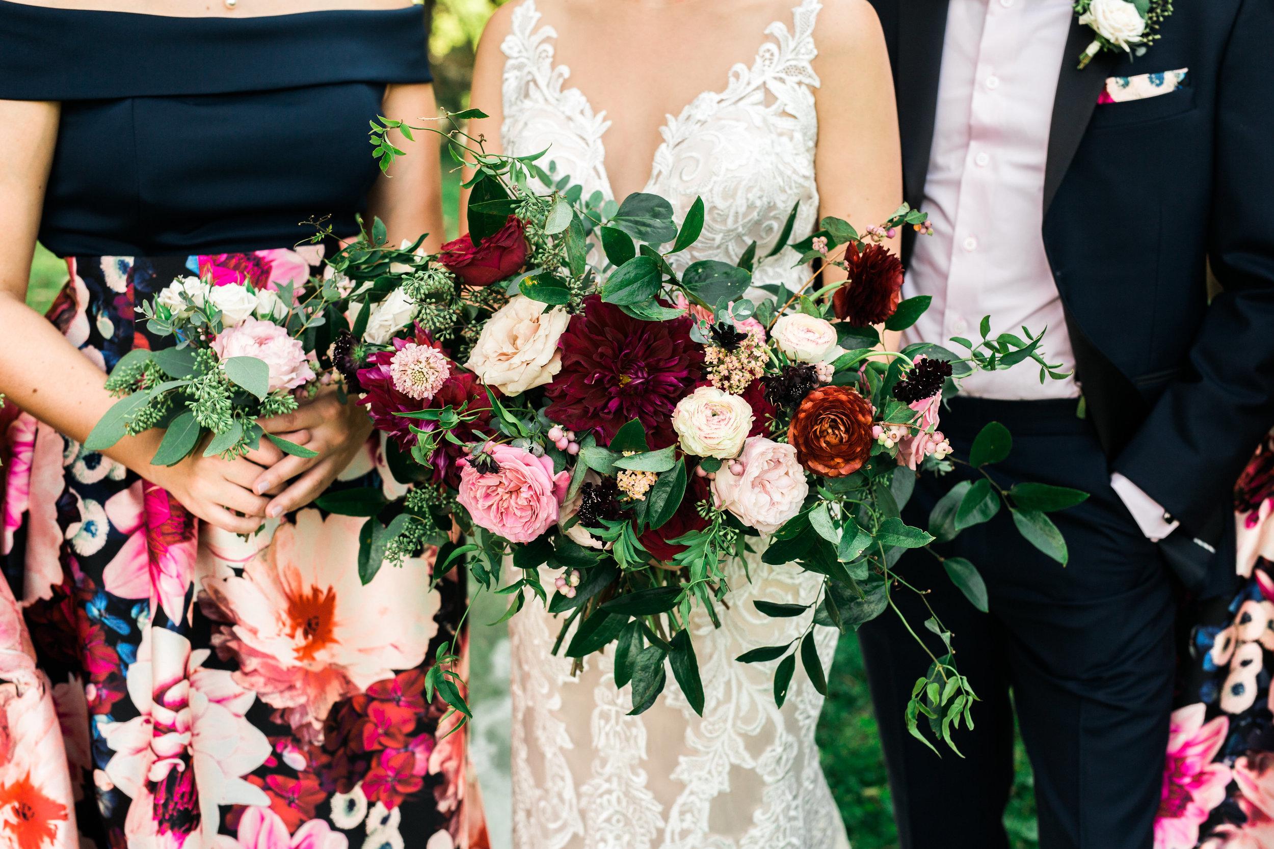Bold floral print skirts--bridesmaid style // Lush, organic marsala wedding flowers in Nashville