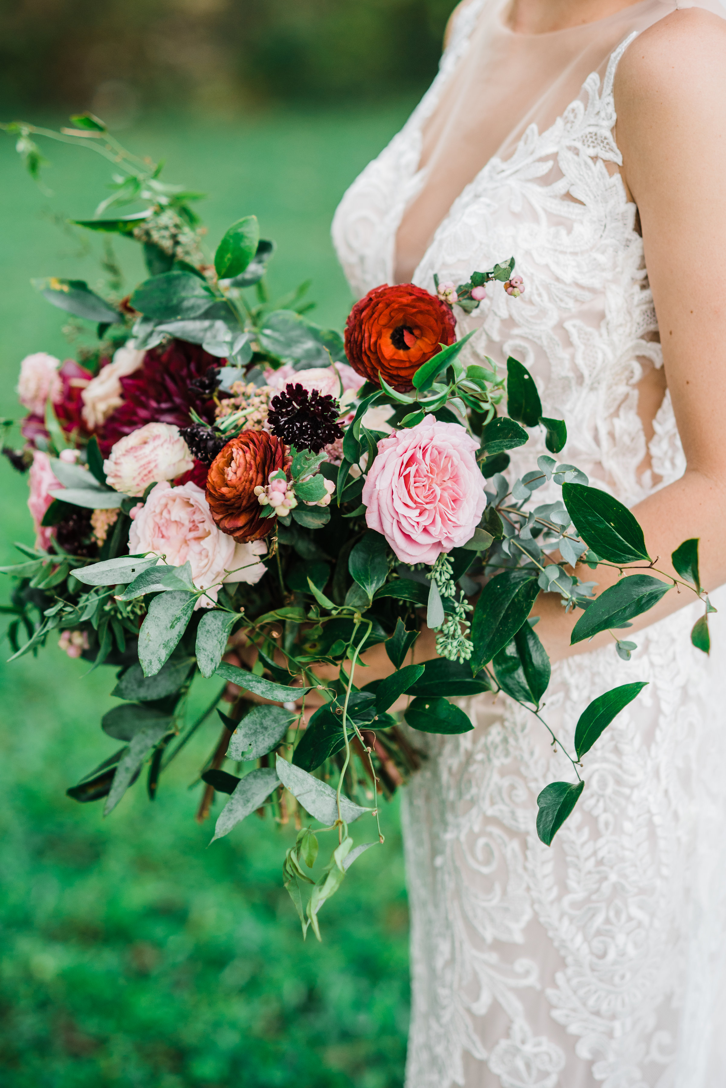 Ombre marsala bridal bouquet with dahlias, garden roses, and ranunculus // Nashville Wedding Florist