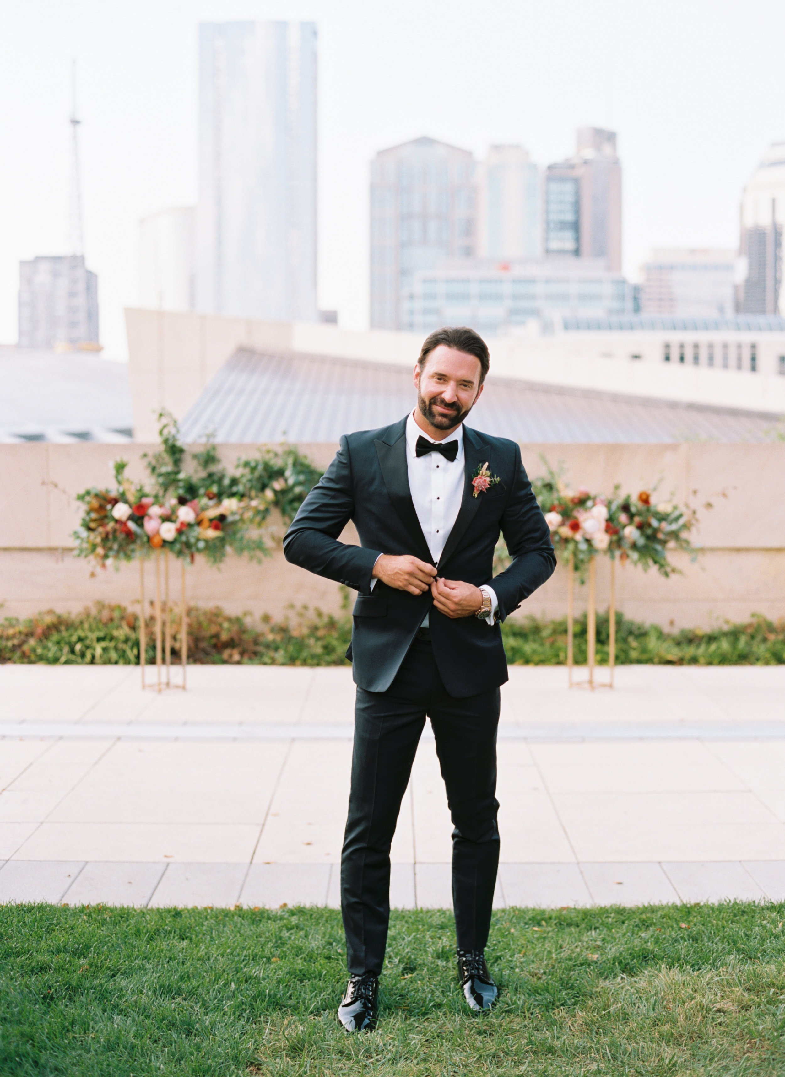 Protea and eucalyptus groom's boutonniere // Downtown Nashville Wedding with lush, natural floral desgn