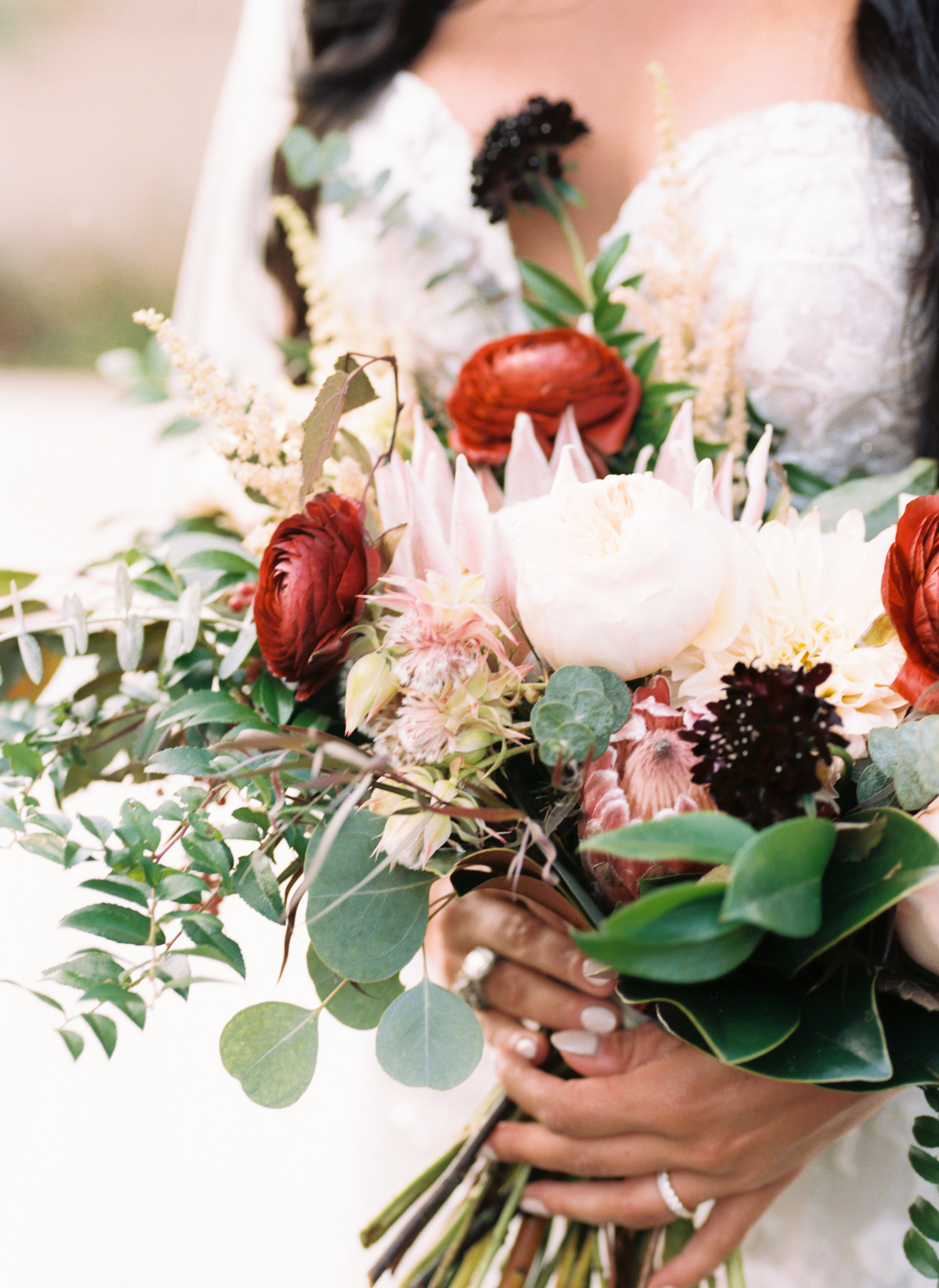 Organic, lush bridal bouquet with protea, ranunculus, and garden roses // Nashville Wedding Floral Design